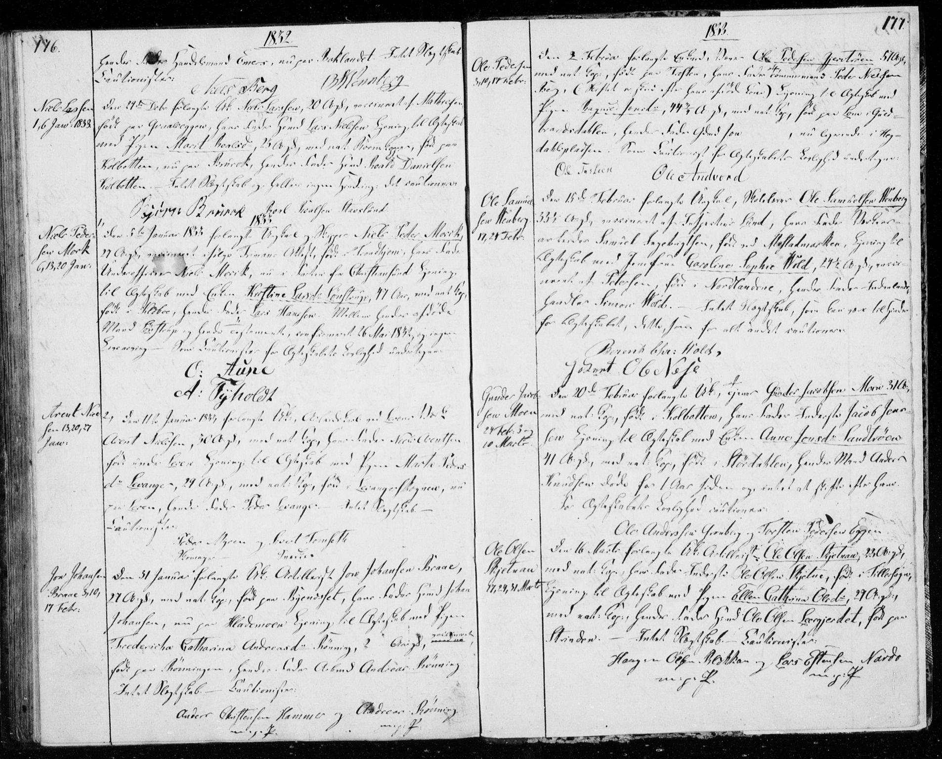 SAT, Ministerialprotokoller, klokkerbøker og fødselsregistre - Sør-Trøndelag, 606/L0295: Lysningsprotokoll nr. 606A10, 1815-1833, s. 176-177