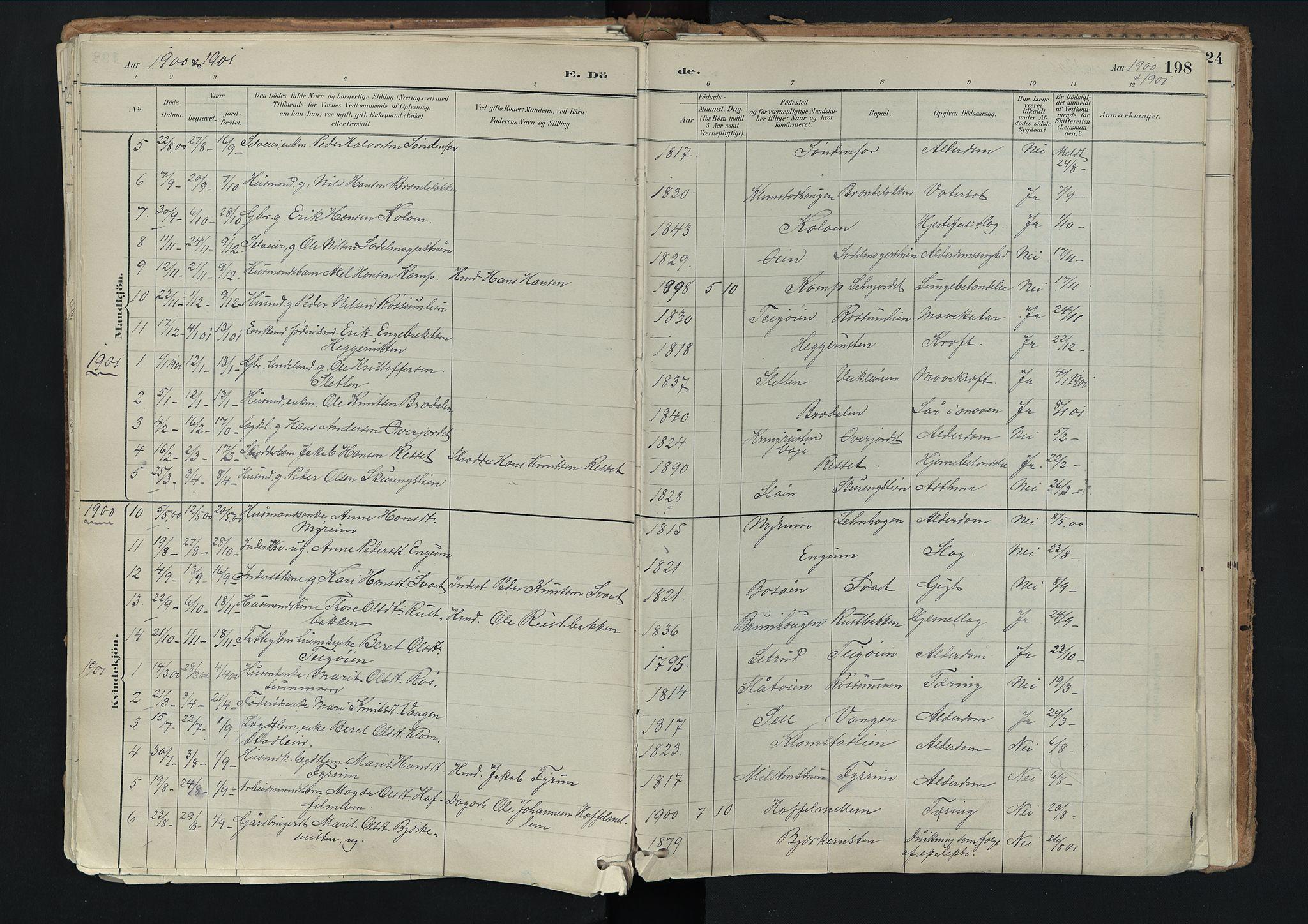 SAH, Nord-Fron prestekontor, Ministerialbok nr. 3, 1884-1914, s. 198