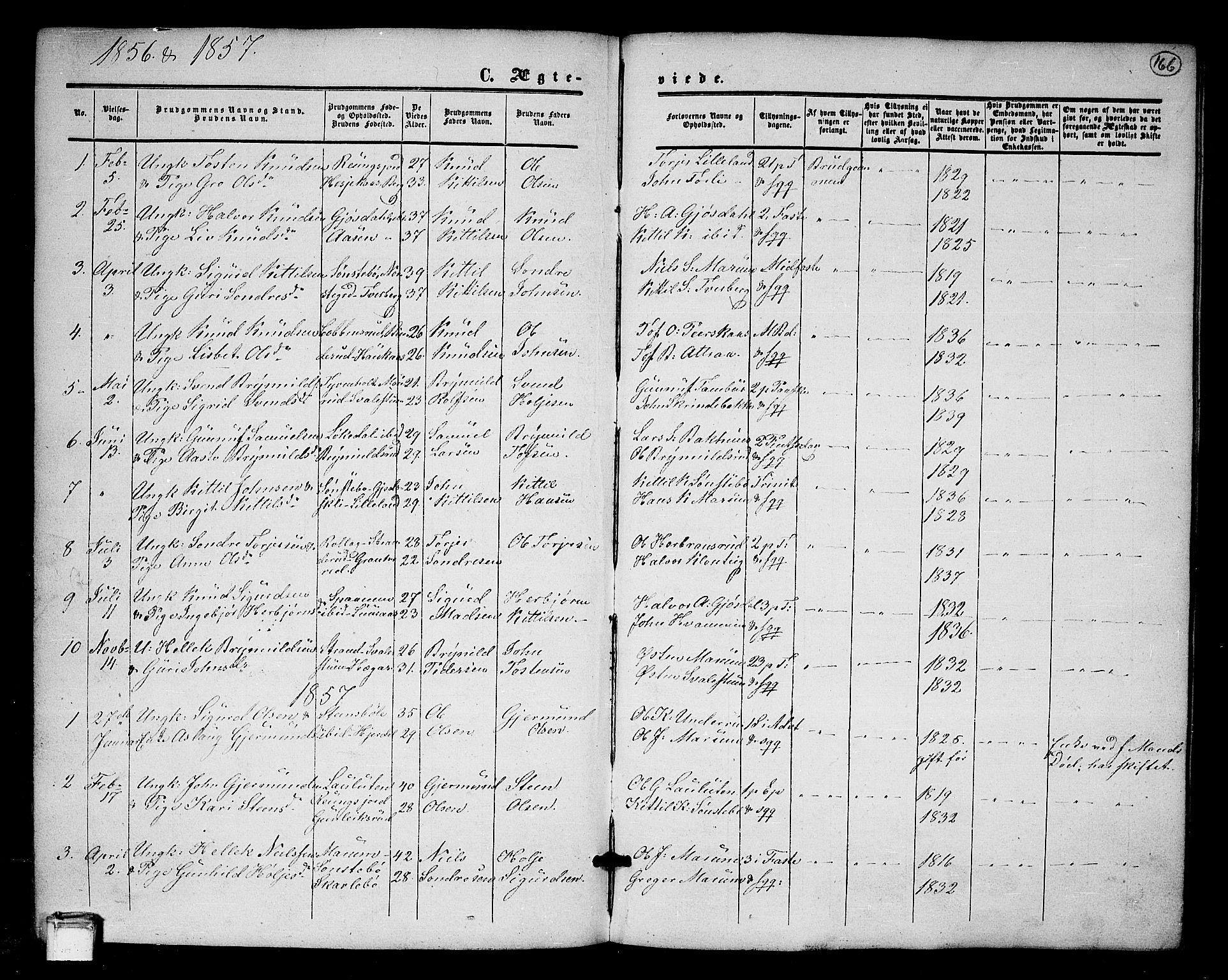 SAKO, Tinn kirkebøker, G/Ga/L0002: Klokkerbok nr. I 2, 1851-1883, s. 166