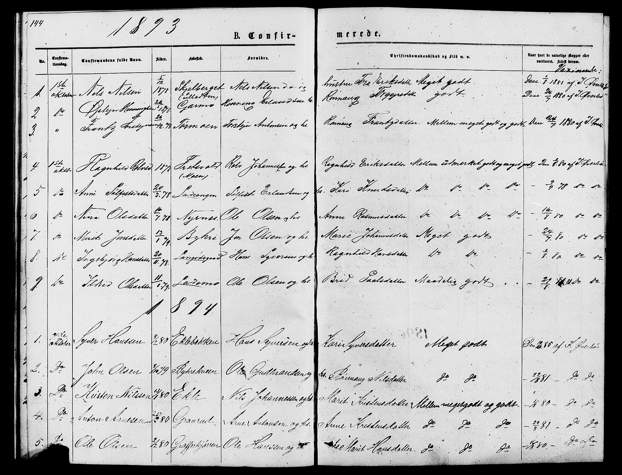 SAH, Lom prestekontor, L/L0005: Klokkerbok nr. 5, 1876-1901, s. 144-145