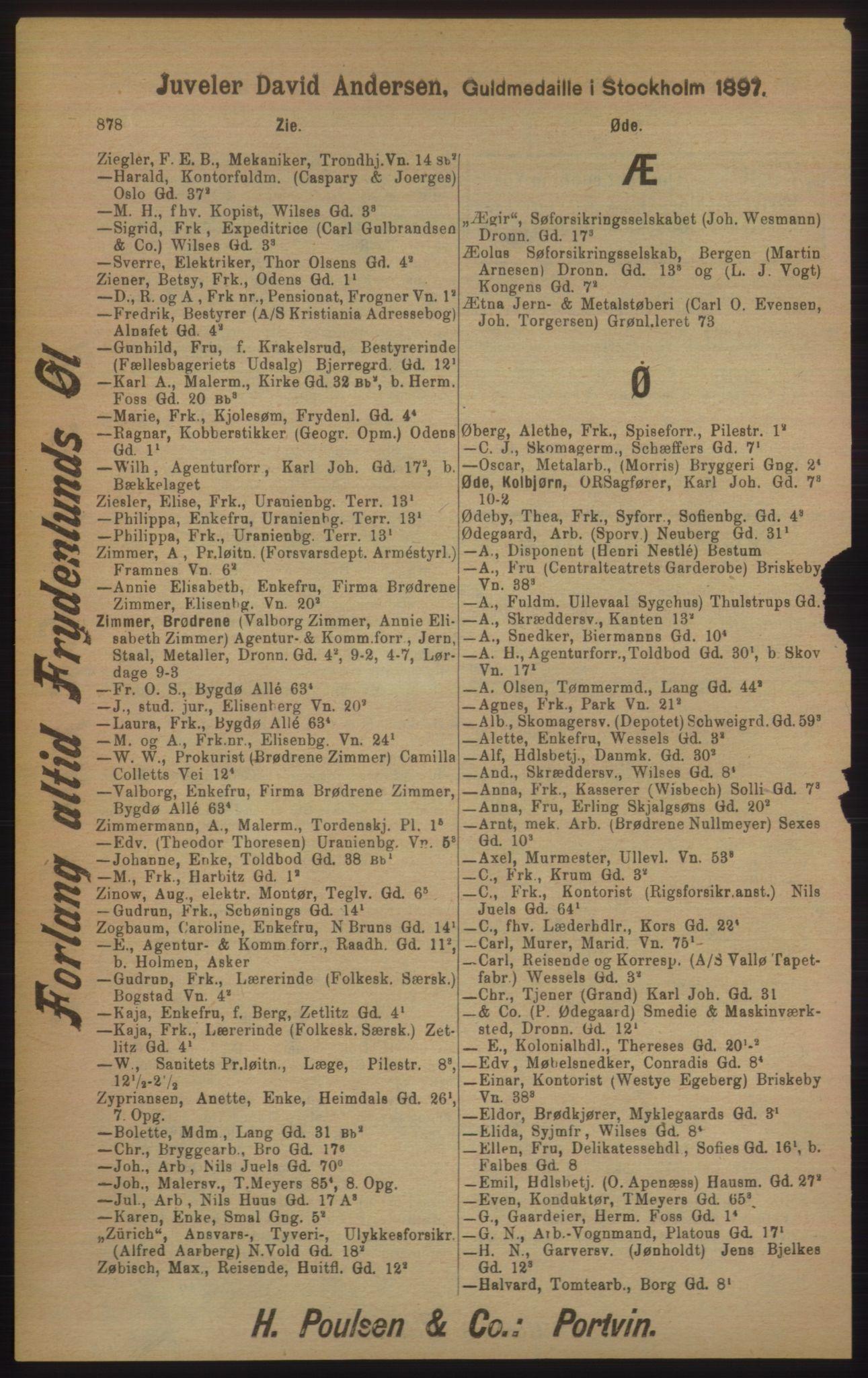 RA, Kristiania adressebok (publikasjon)*, 1905, s. 878
