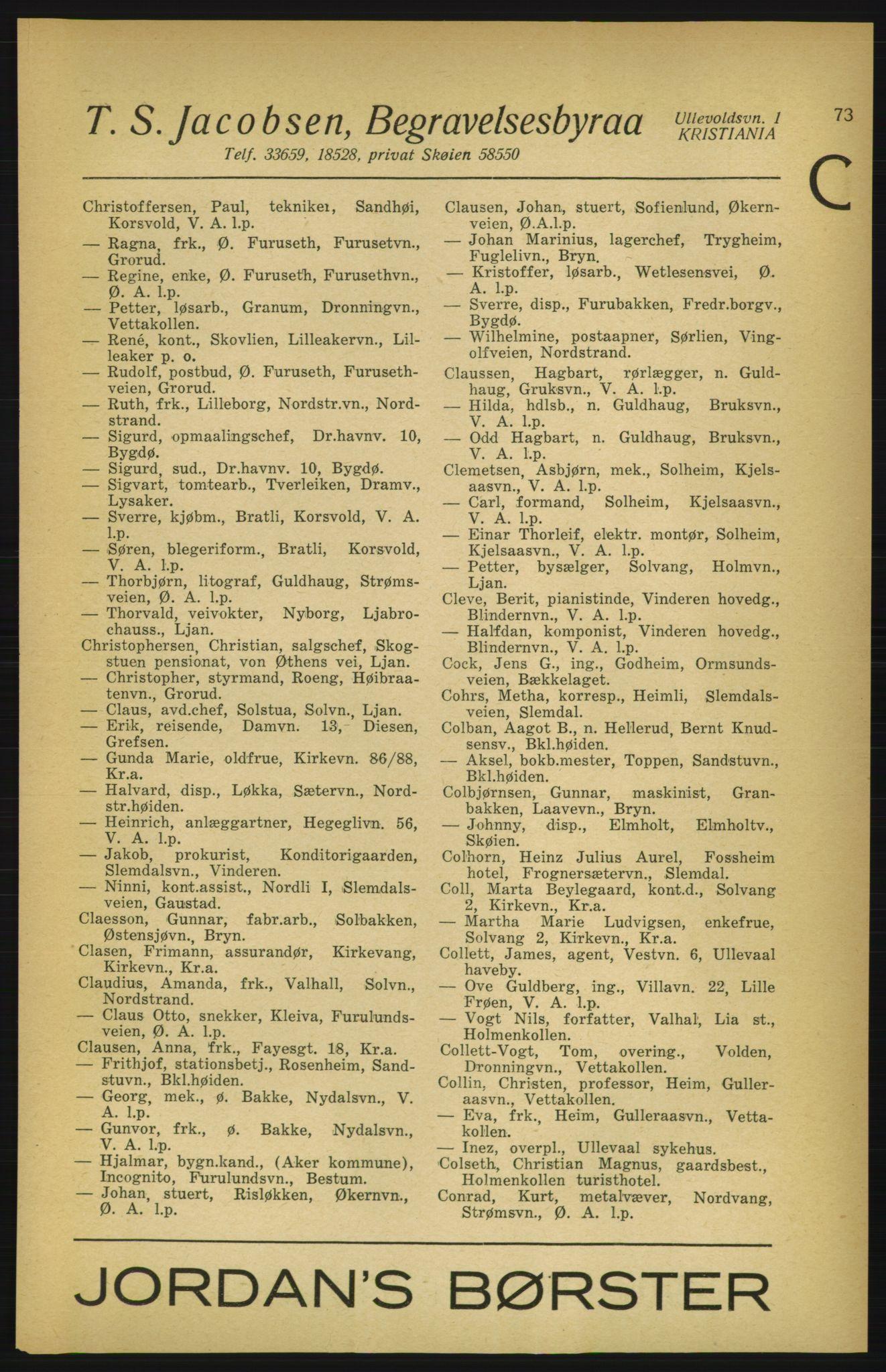PUBL, Aker adressebok/adressekalender, 1924-1925, s. 73