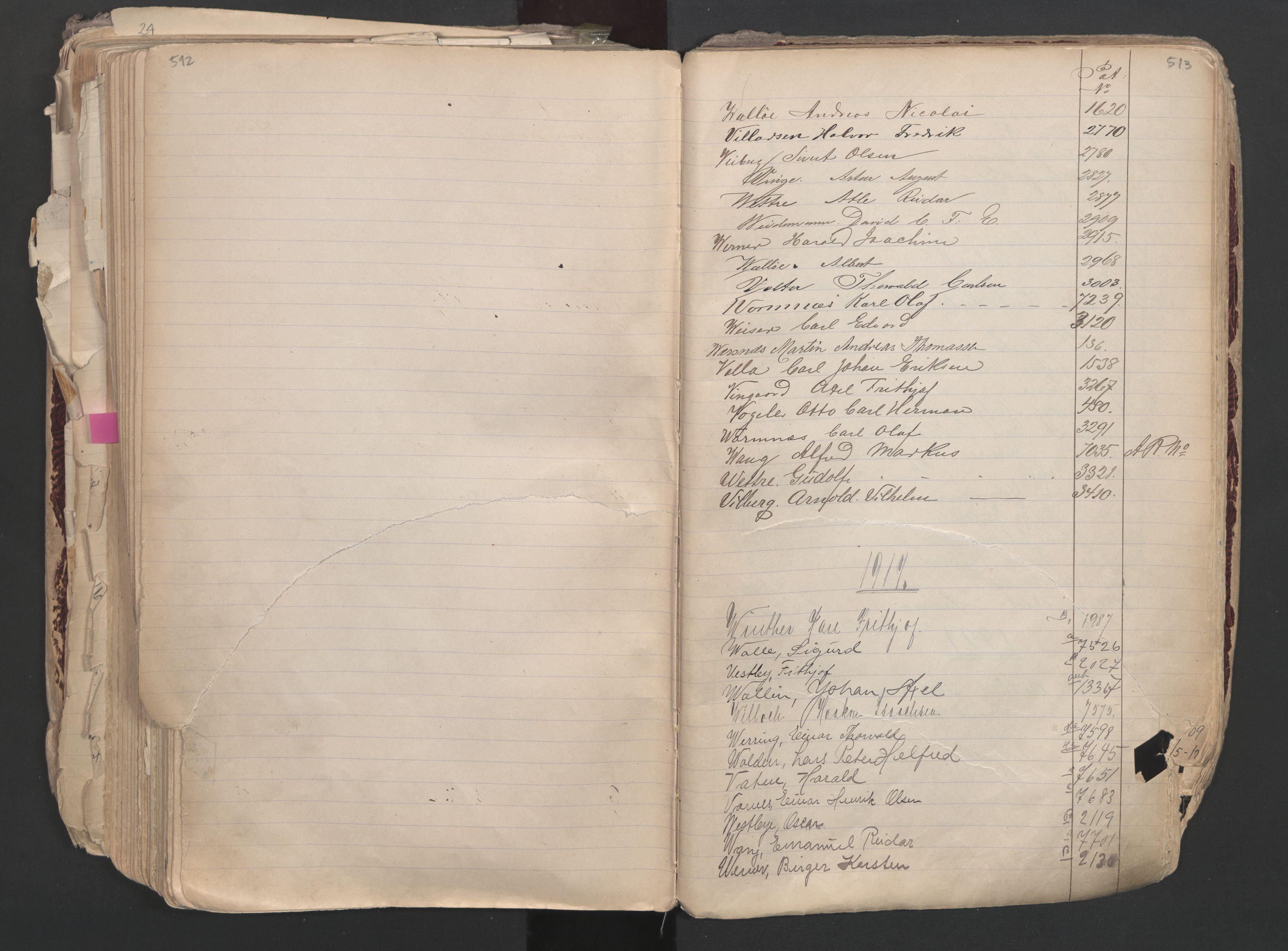 SAO, Oslo sjømannskontor, F/Fa/L0003: Register for Oslo mønstringskrets, 1891-1948, s. 512-513