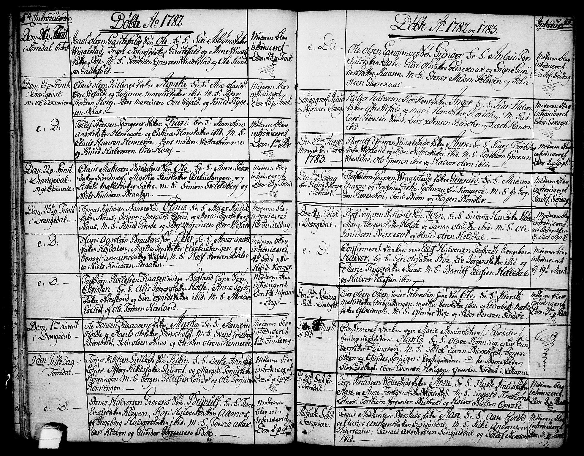 SAKO, Drangedal kirkebøker, F/Fa/L0003: Ministerialbok nr. 3, 1768-1814, s. 54-55