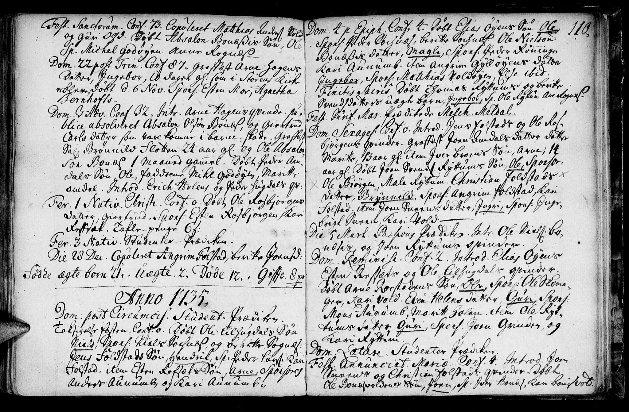 SAT, Ministerialprotokoller, klokkerbøker og fødselsregistre - Sør-Trøndelag, 687/L0990: Ministerialbok nr. 687A01, 1690-1746, s. 110