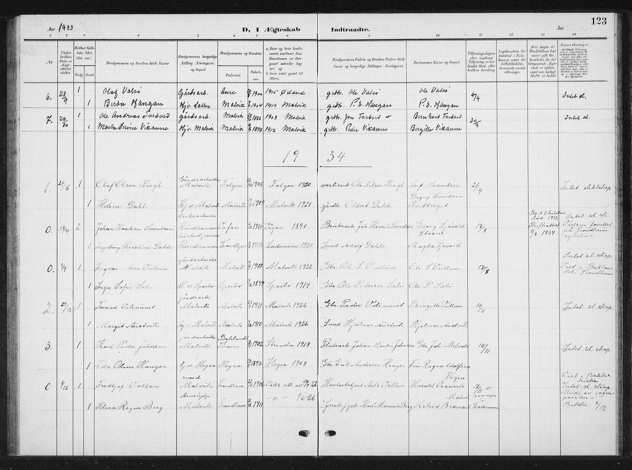 SAT, Ministerialprotokoller, klokkerbøker og fødselsregistre - Sør-Trøndelag, 616/L0424: Klokkerbok nr. 616C07, 1904-1940, s. 123