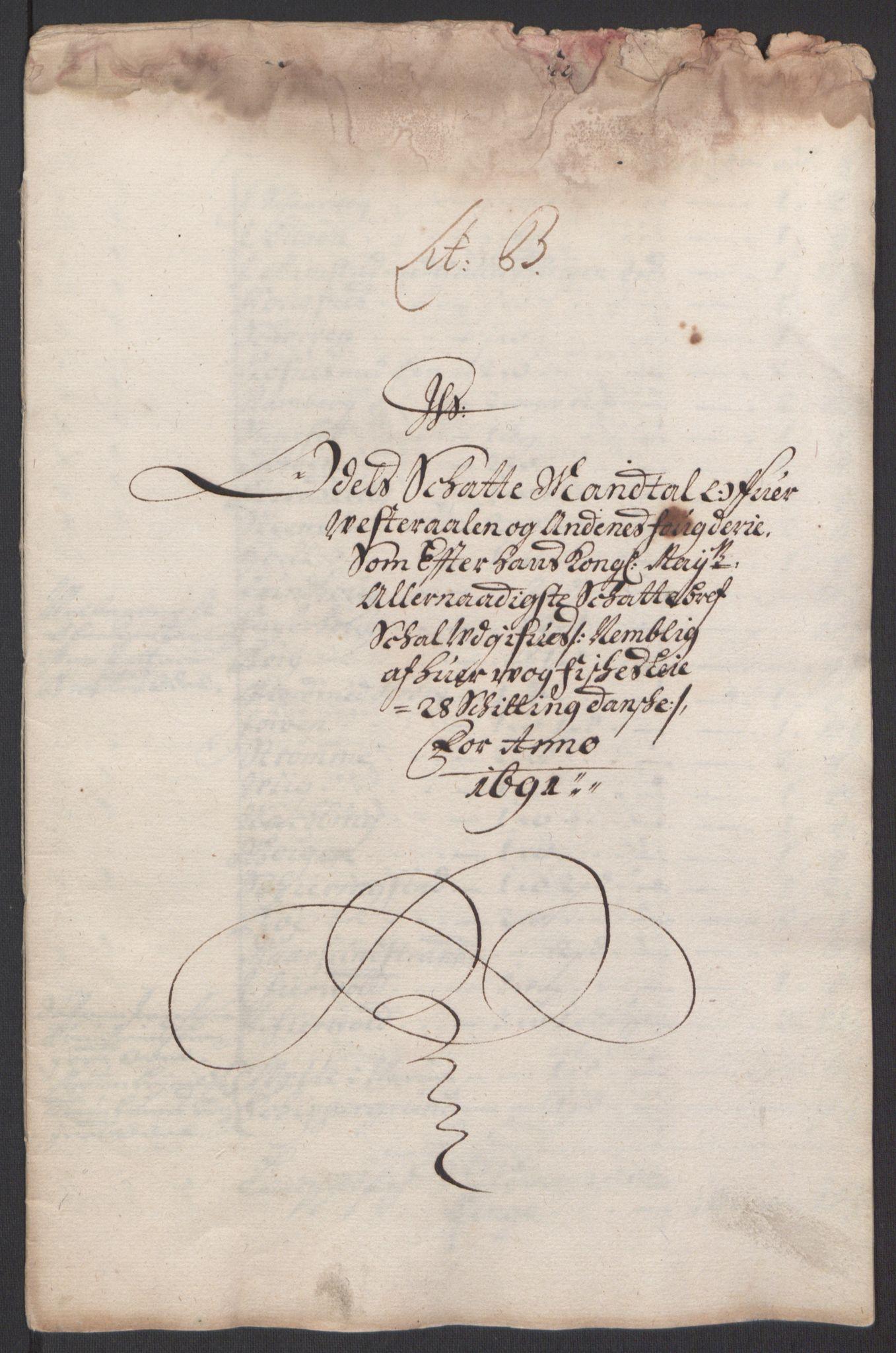RA, Rentekammeret inntil 1814, Reviderte regnskaper, Fogderegnskap, R67/L4676: Fogderegnskap Vesterålen, Andenes og Lofoten, 1691-1693, s. 15