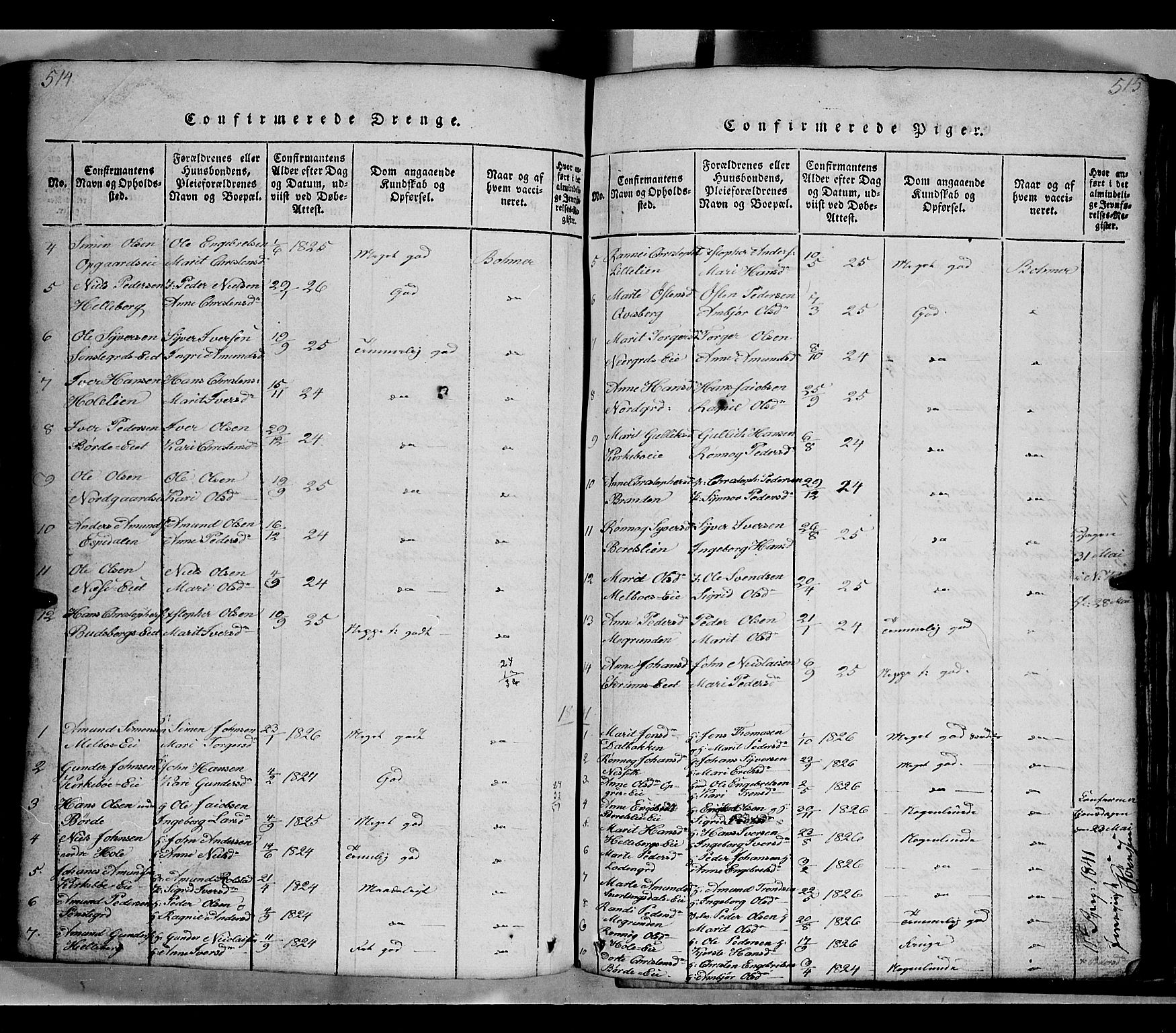 SAH, Gausdal prestekontor, Klokkerbok nr. 2, 1818-1874, s. 514-515