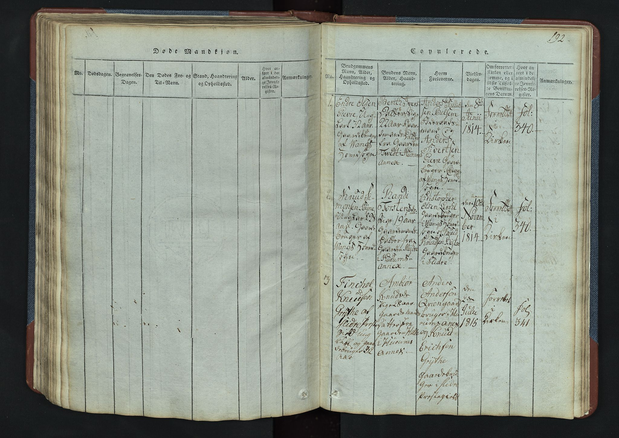 SAH, Vang prestekontor, Valdres, Klokkerbok nr. 3, 1814-1892, s. 192