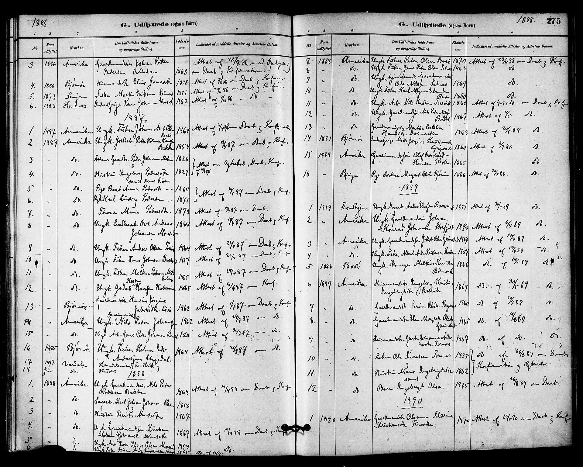SAT, Ministerialprotokoller, klokkerbøker og fødselsregistre - Sør-Trøndelag, 655/L0680: Ministerialbok nr. 655A09, 1880-1894, s. 275