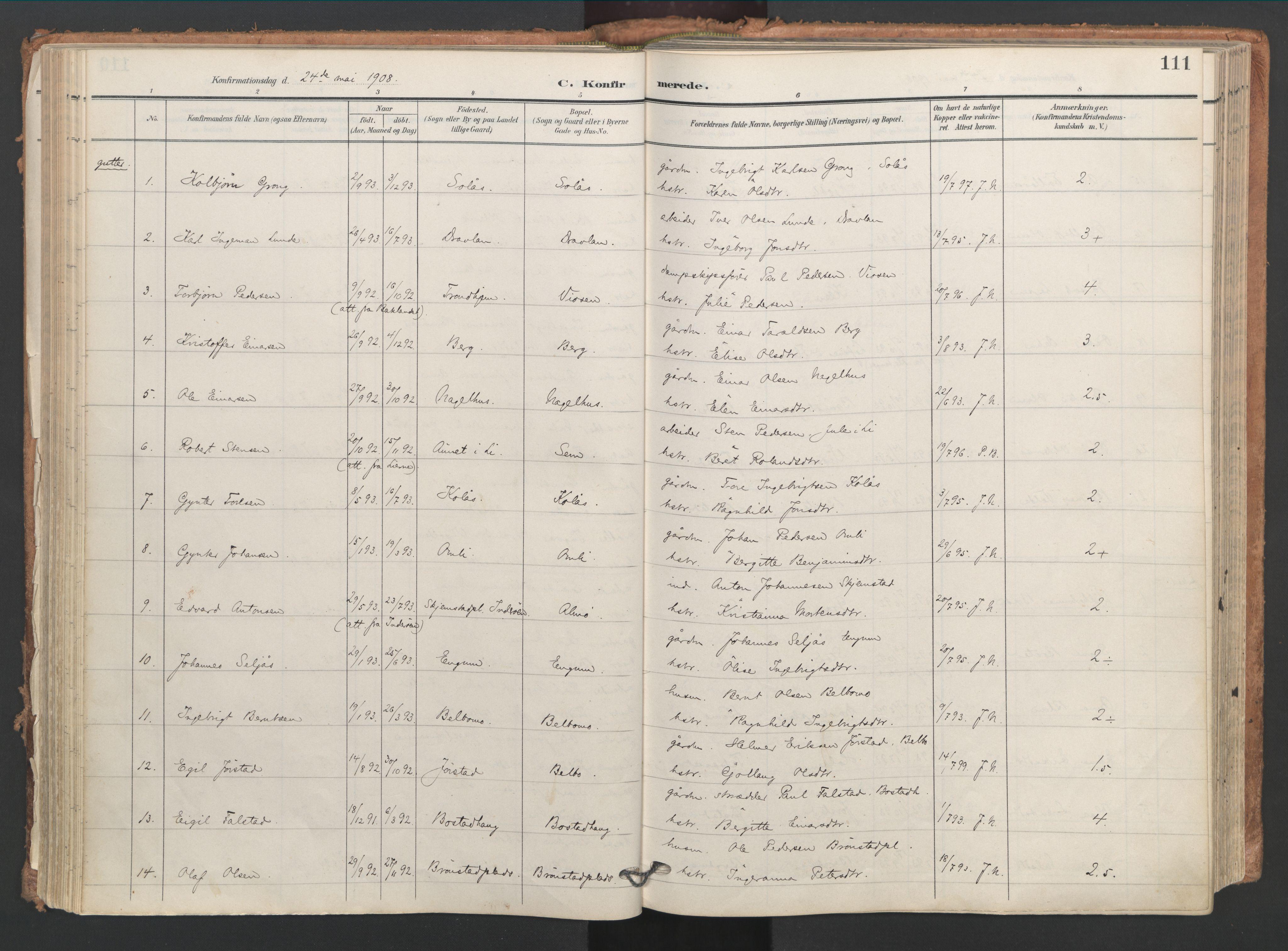 SAT, Ministerialprotokoller, klokkerbøker og fødselsregistre - Nord-Trøndelag, 749/L0477: Ministerialbok nr. 749A11, 1902-1927, s. 111
