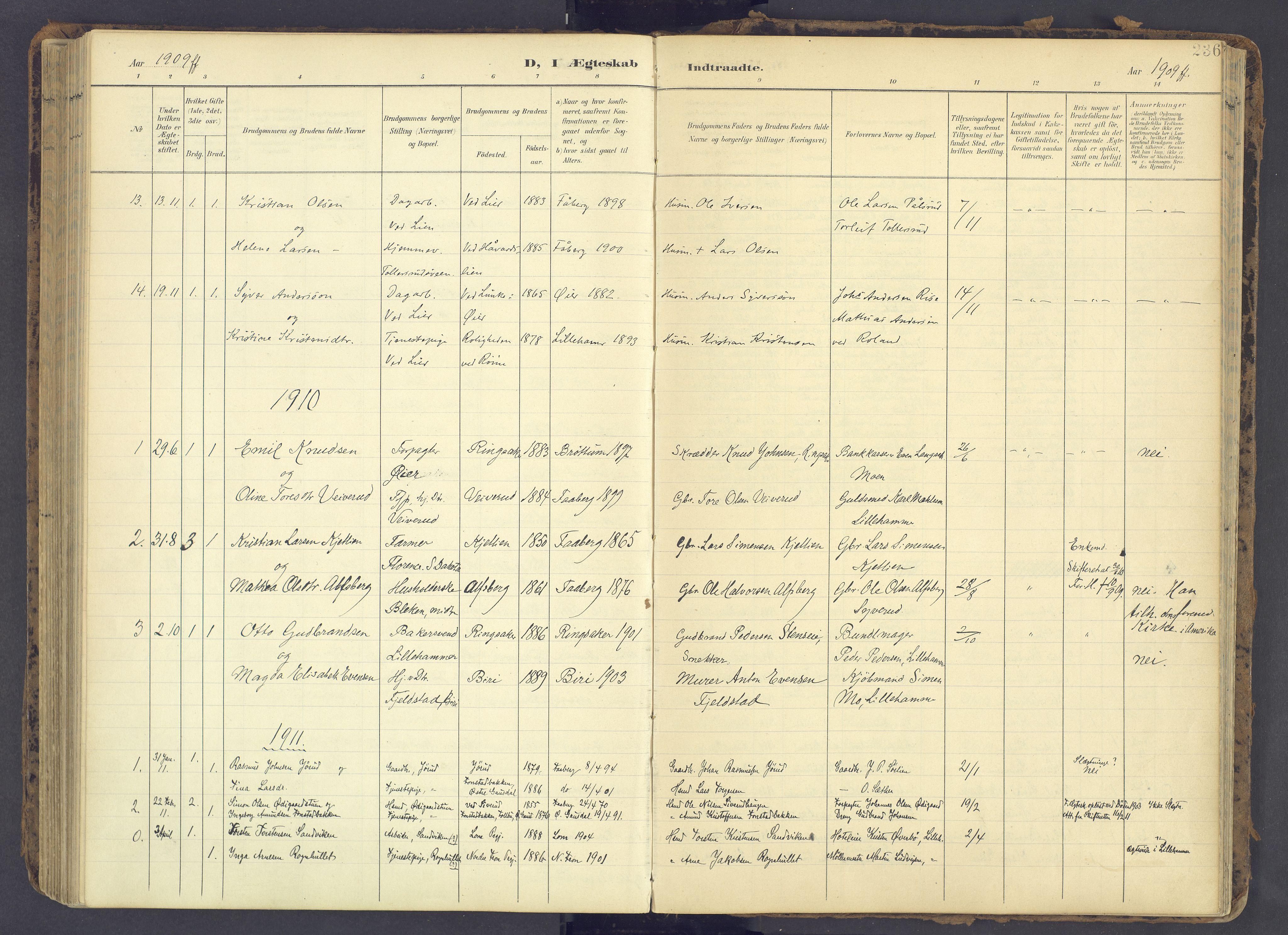SAH, Fåberg prestekontor, Ministerialbok nr. 12, 1899-1915, s. 236