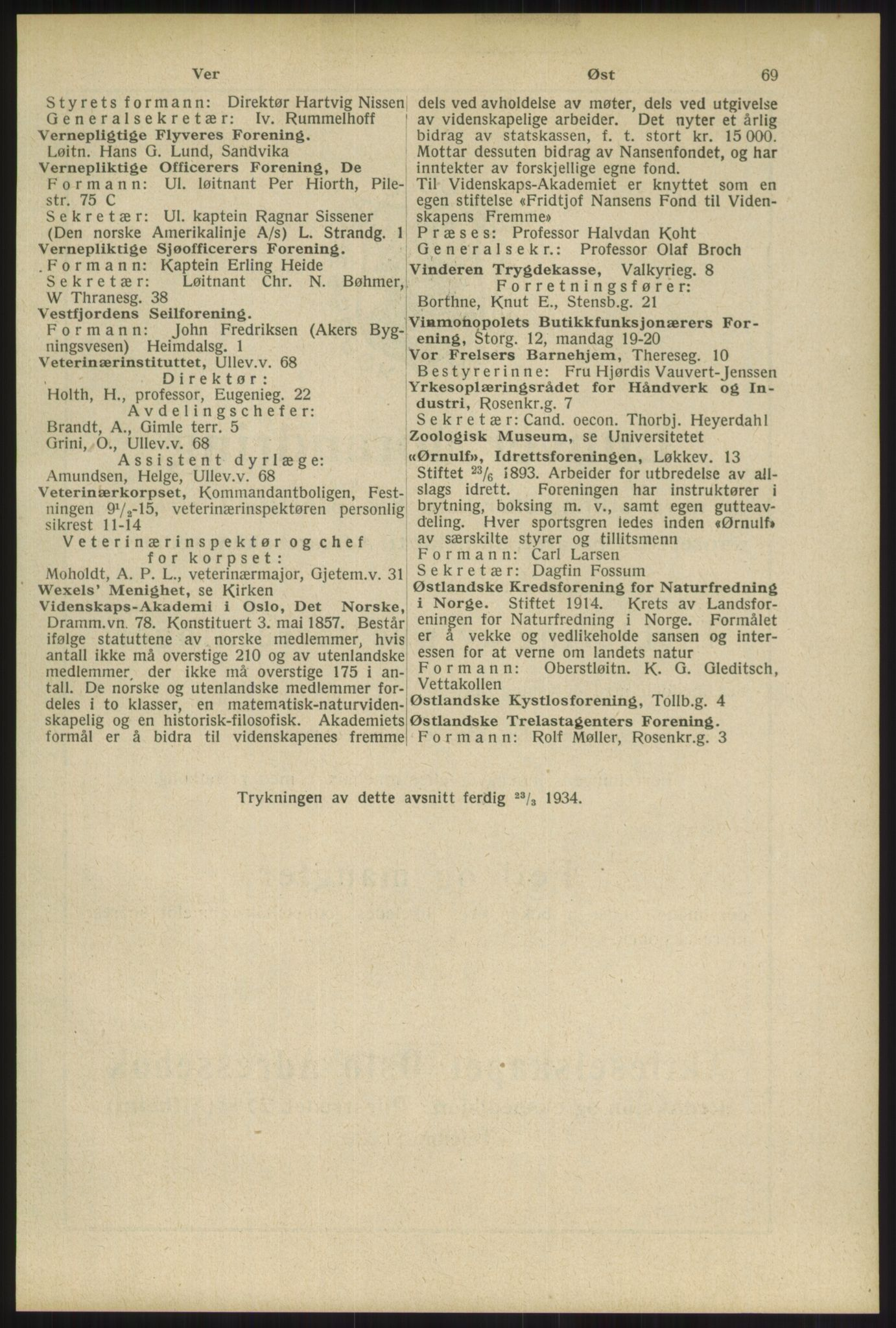 RA, Oslo adressebok (publikasjon)*, 1934, s. 69