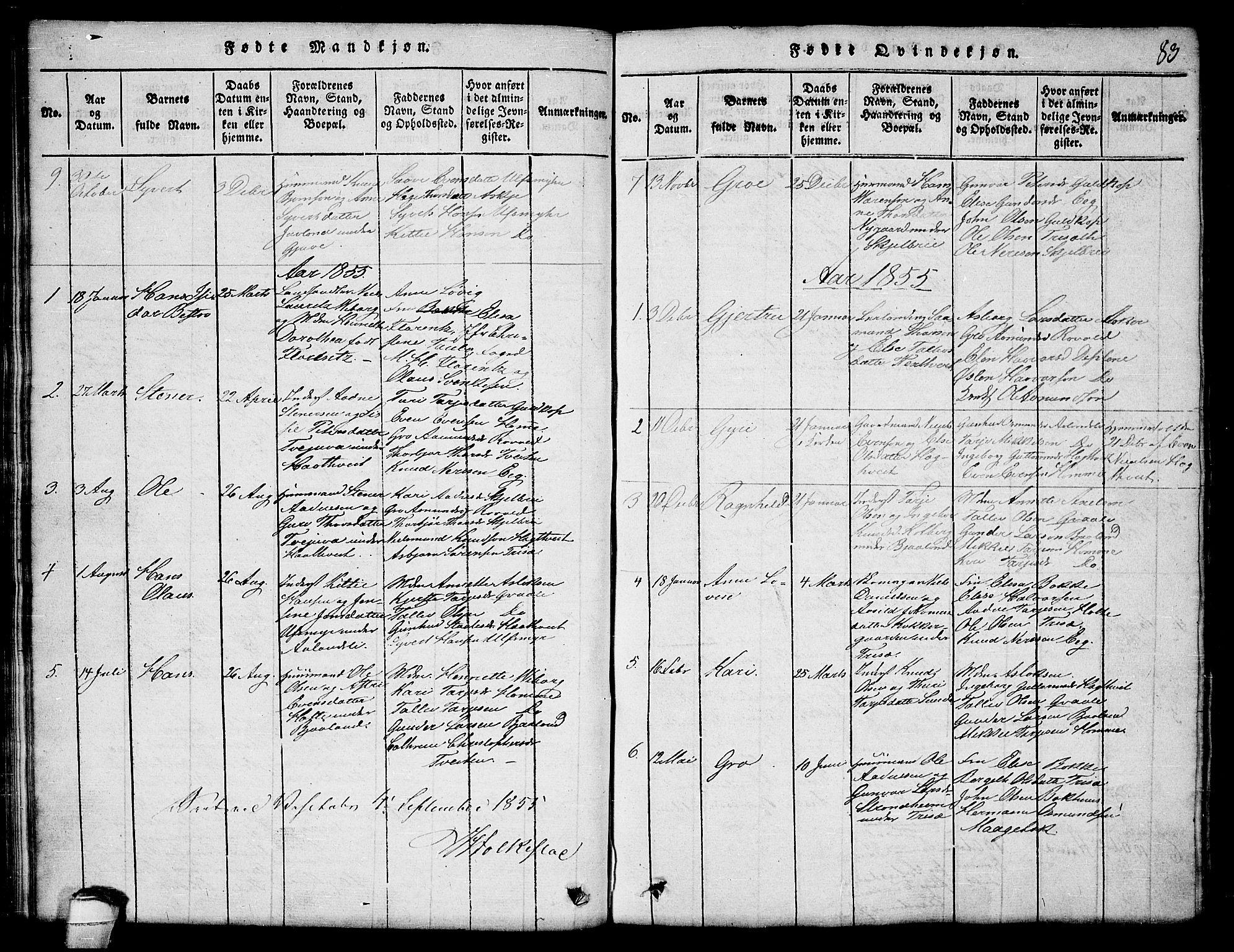 SAKO, Lårdal kirkebøker, G/Ga/L0001: Klokkerbok nr. I 1, 1815-1861, s. 83