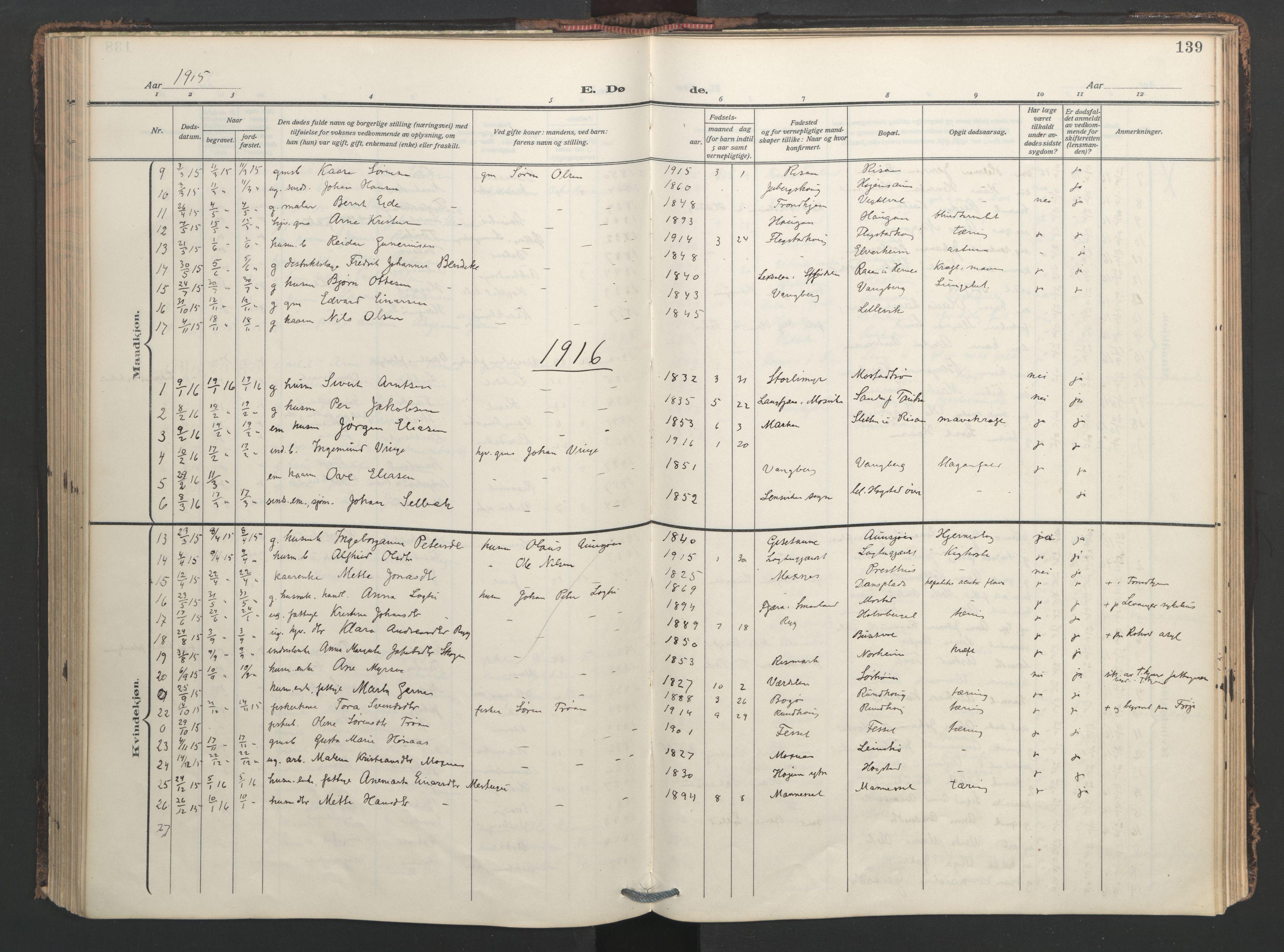 SAT, Ministerialprotokoller, klokkerbøker og fødselsregistre - Nord-Trøndelag, 713/L0123: Ministerialbok nr. 713A12, 1911-1925, s. 139