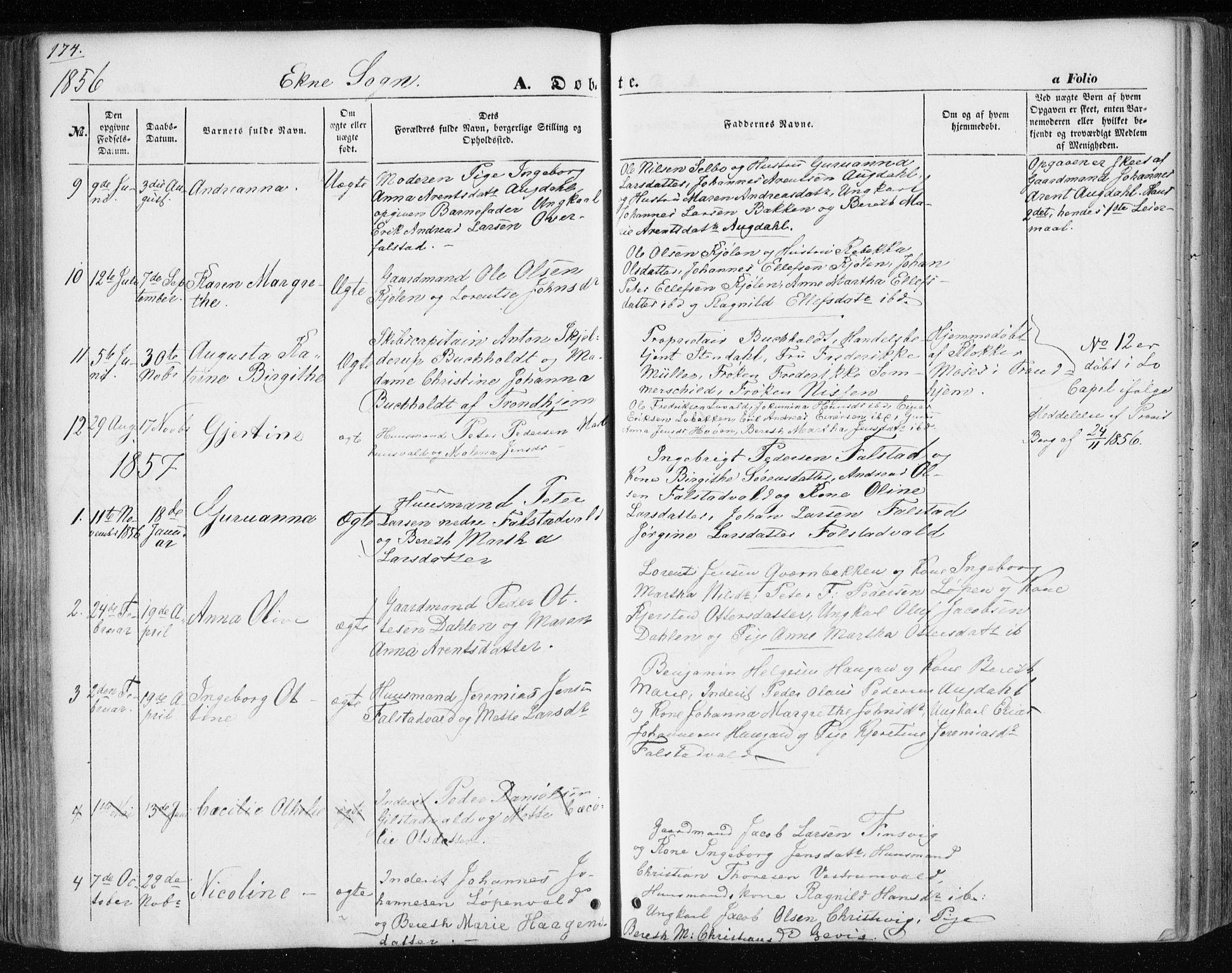 SAT, Ministerialprotokoller, klokkerbøker og fødselsregistre - Nord-Trøndelag, 717/L0154: Ministerialbok nr. 717A07 /3, 1850-1862, s. 174