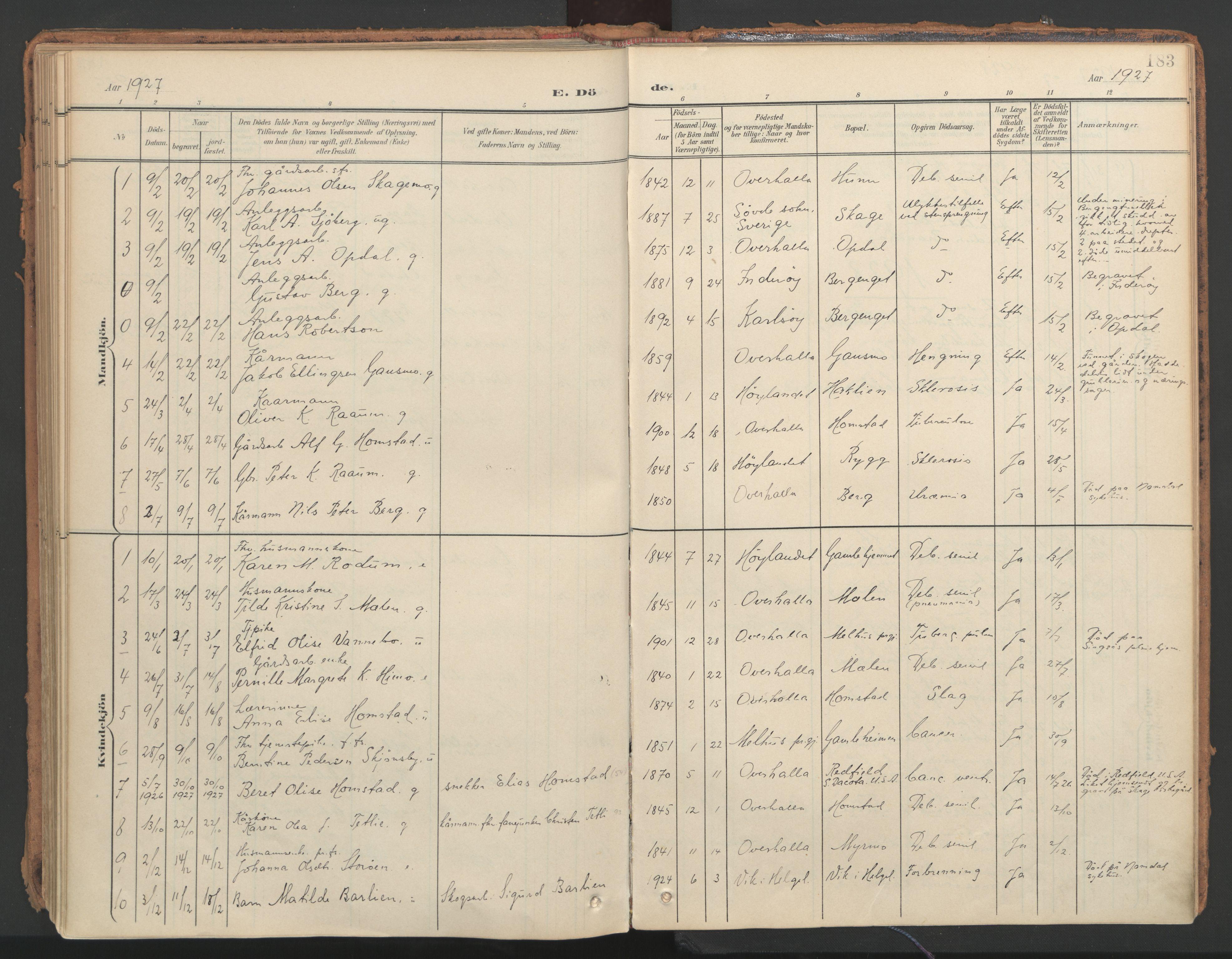 SAT, Ministerialprotokoller, klokkerbøker og fødselsregistre - Nord-Trøndelag, 766/L0564: Ministerialbok nr. 767A02, 1900-1932, s. 183