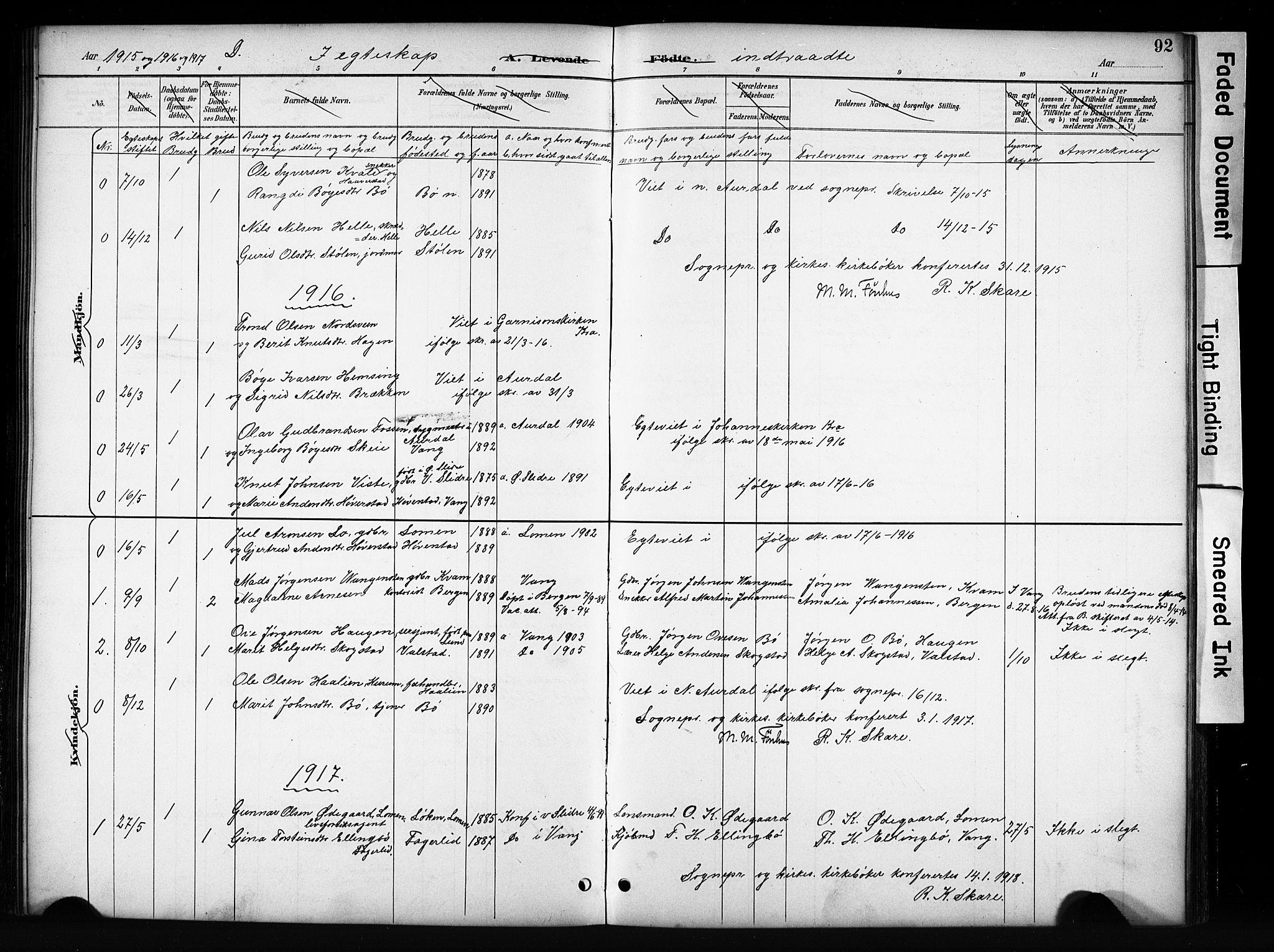 SAH, Vang prestekontor, Valdres, Klokkerbok nr. 6, 1893-1918, s. 92