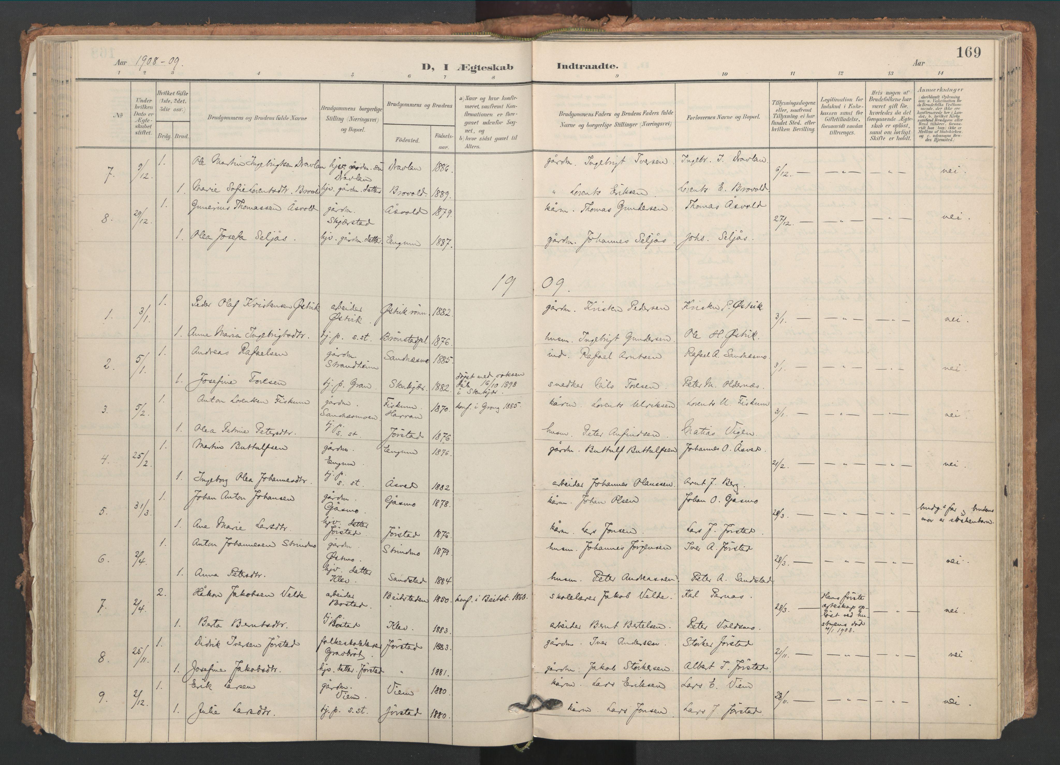 SAT, Ministerialprotokoller, klokkerbøker og fødselsregistre - Nord-Trøndelag, 749/L0477: Ministerialbok nr. 749A11, 1902-1927, s. 169