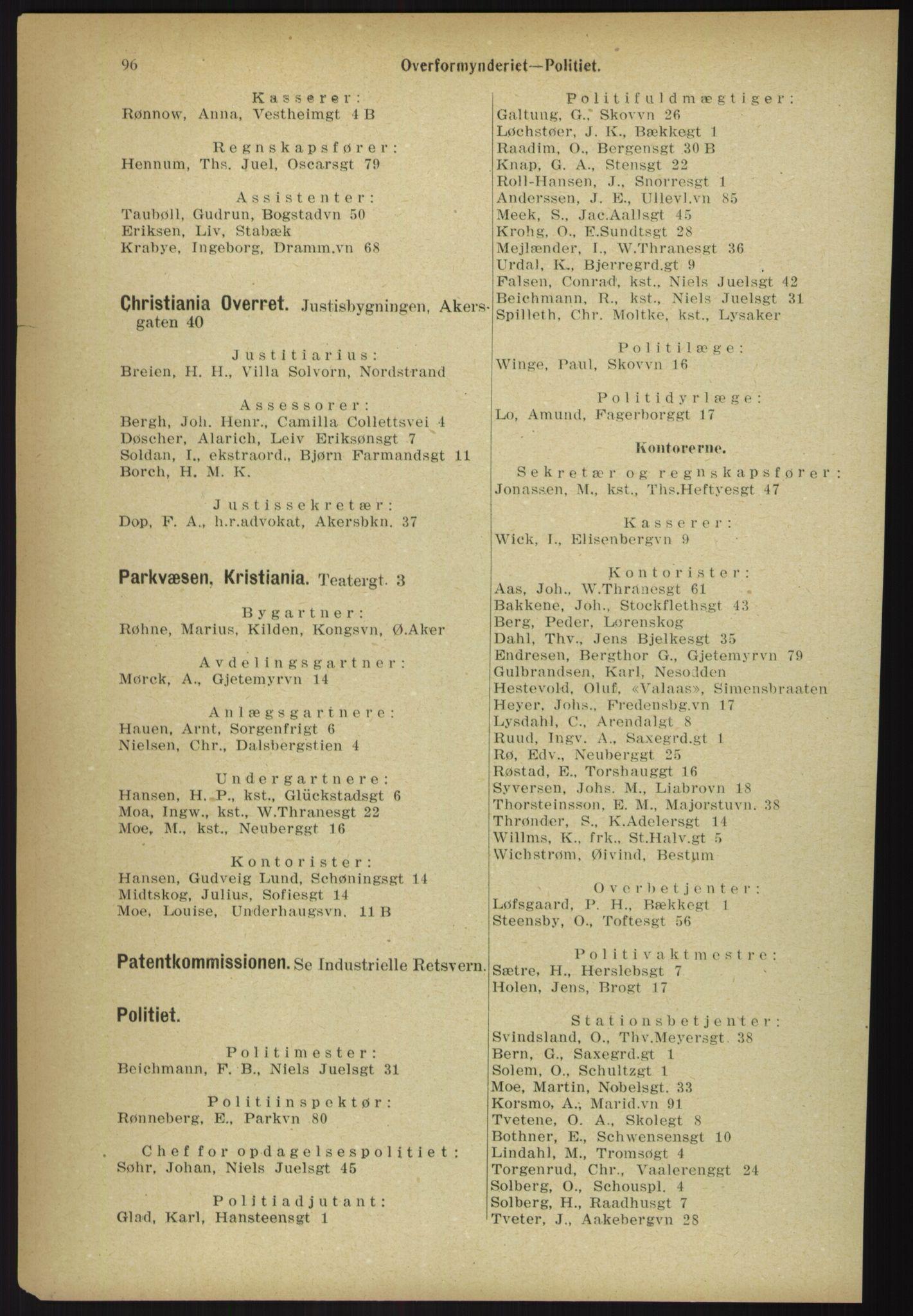 RA, Kristiania adressebok (publikasjon)*, 1918, s. 96