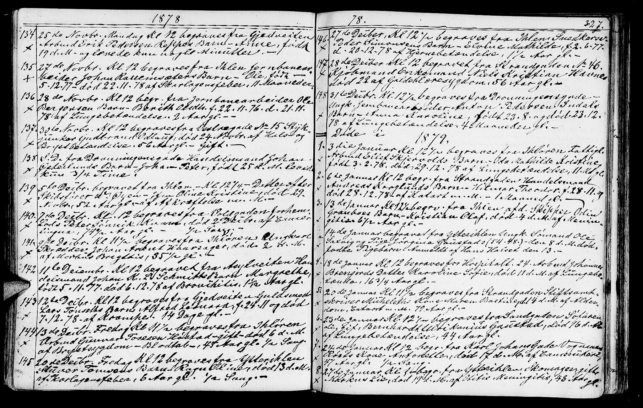 SAT, Ministerialprotokoller, klokkerbøker og fødselsregistre - Sør-Trøndelag, 602/L0142: Klokkerbok nr. 602C10, 1872-1894, s. 327