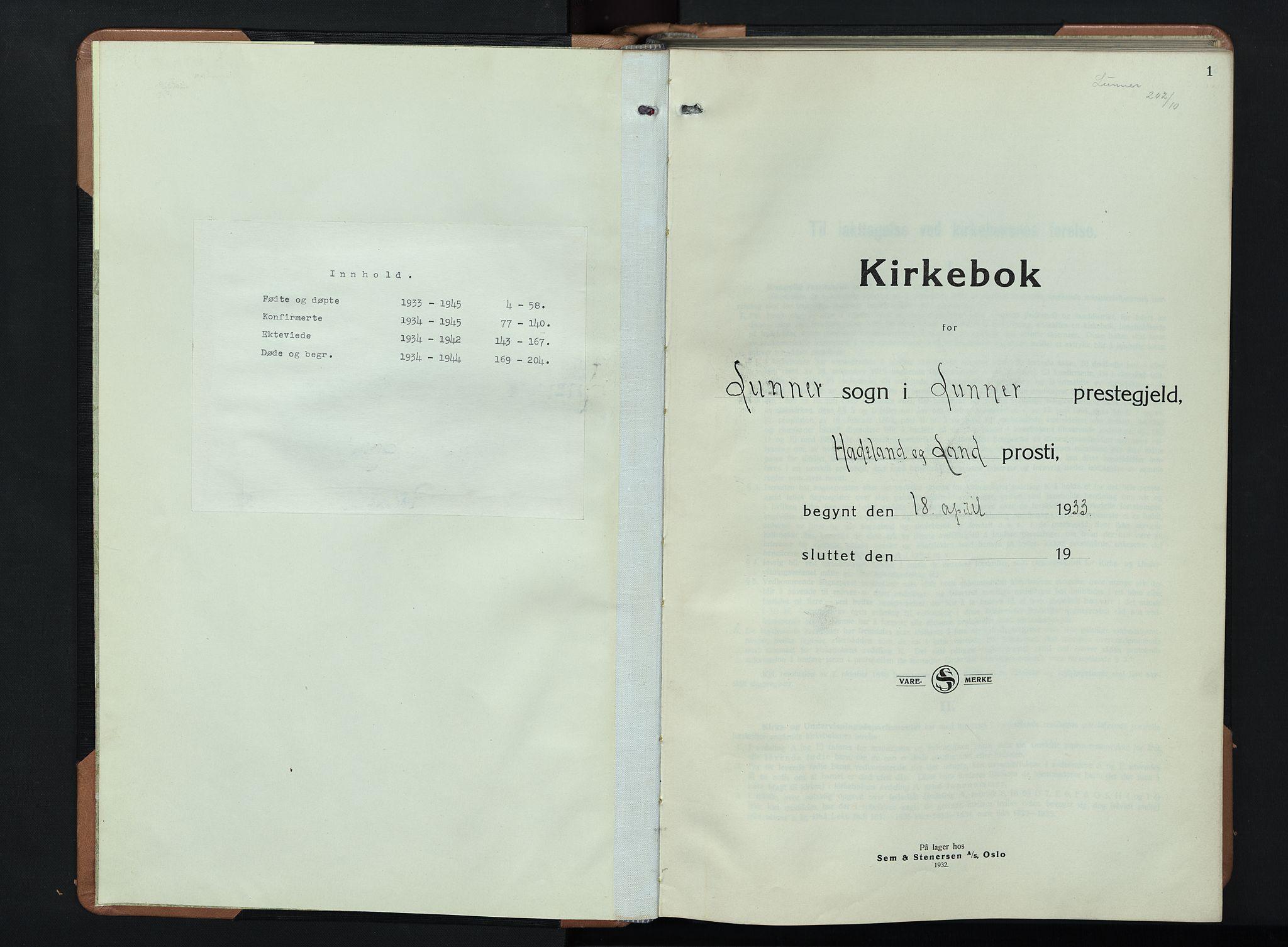 SAH, Lunner prestekontor, H/Ha/Hab/L0003: Klokkerbok nr. 3, 1933-1945, s. 1