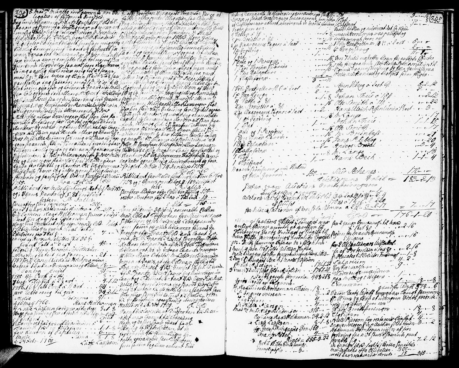 SAT, Molde byfogd, 3/3Aa/L0001: Skifteprotokoll, 1748-1768, s. 394-395