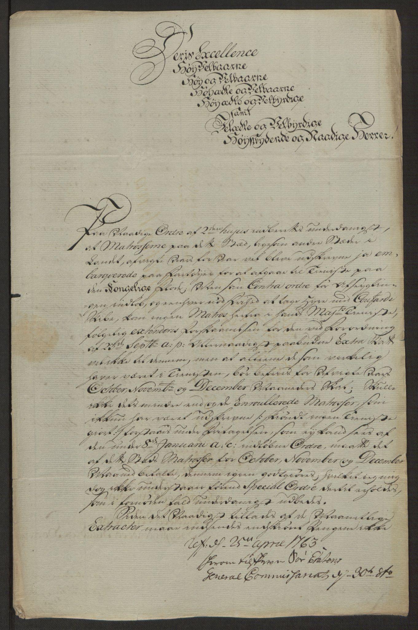 RA, Rentekammeret inntil 1814, Reviderte regnskaper, Byregnskaper, R/Ri/L0183: [I4] Kontribusjonsregnskap, 1762-1768, s. 164