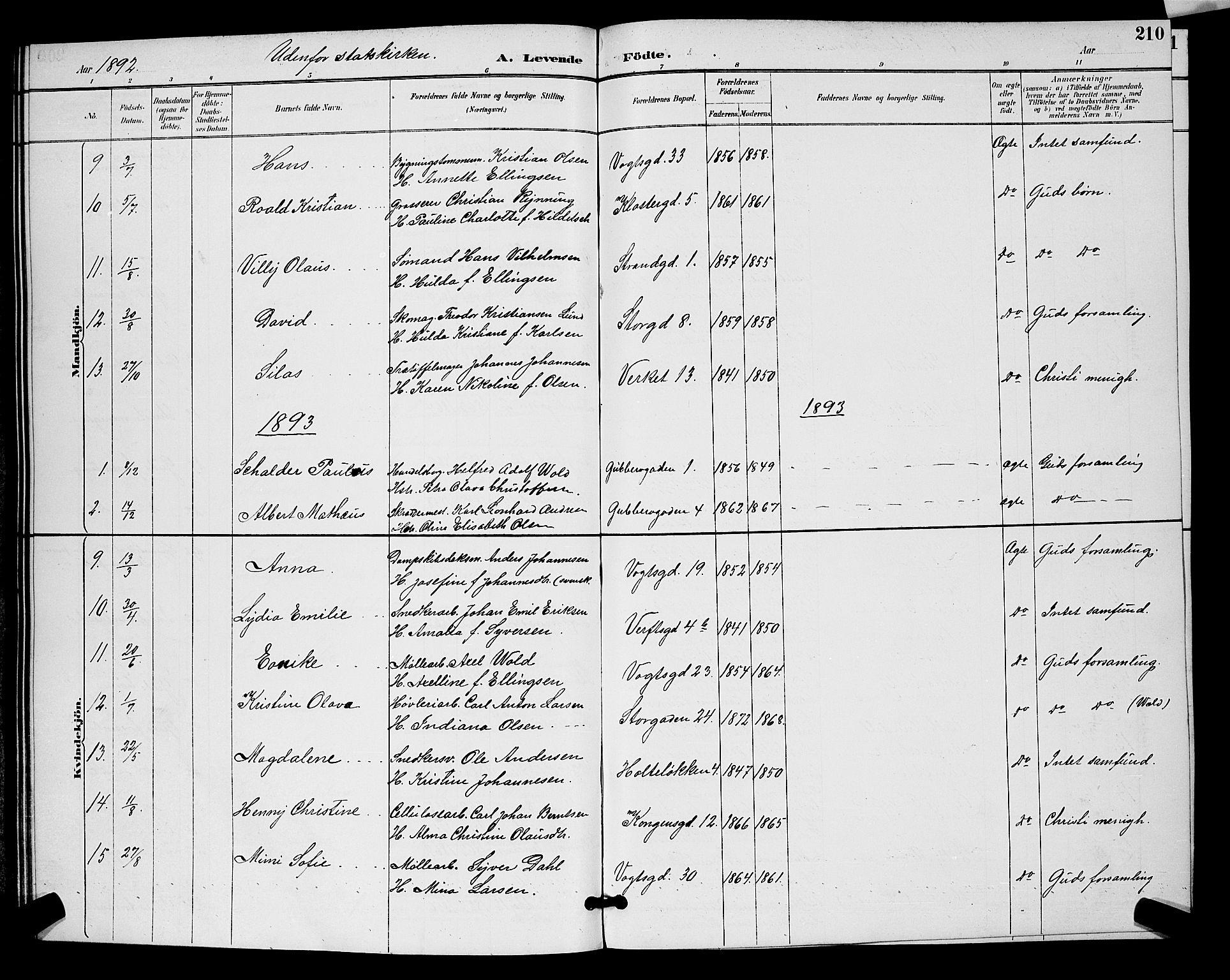 SAO, Moss prestekontor Kirkebøker, G/Ga/L0006: Klokkerbok nr. I 6, 1889-1900, s. 210