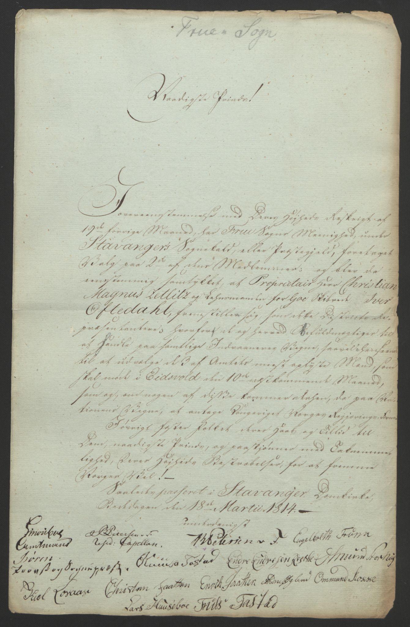 RA, Statsrådssekretariatet, D/Db/L0008: Fullmakter for Eidsvollsrepresentantene i 1814. , 1814, s. 200