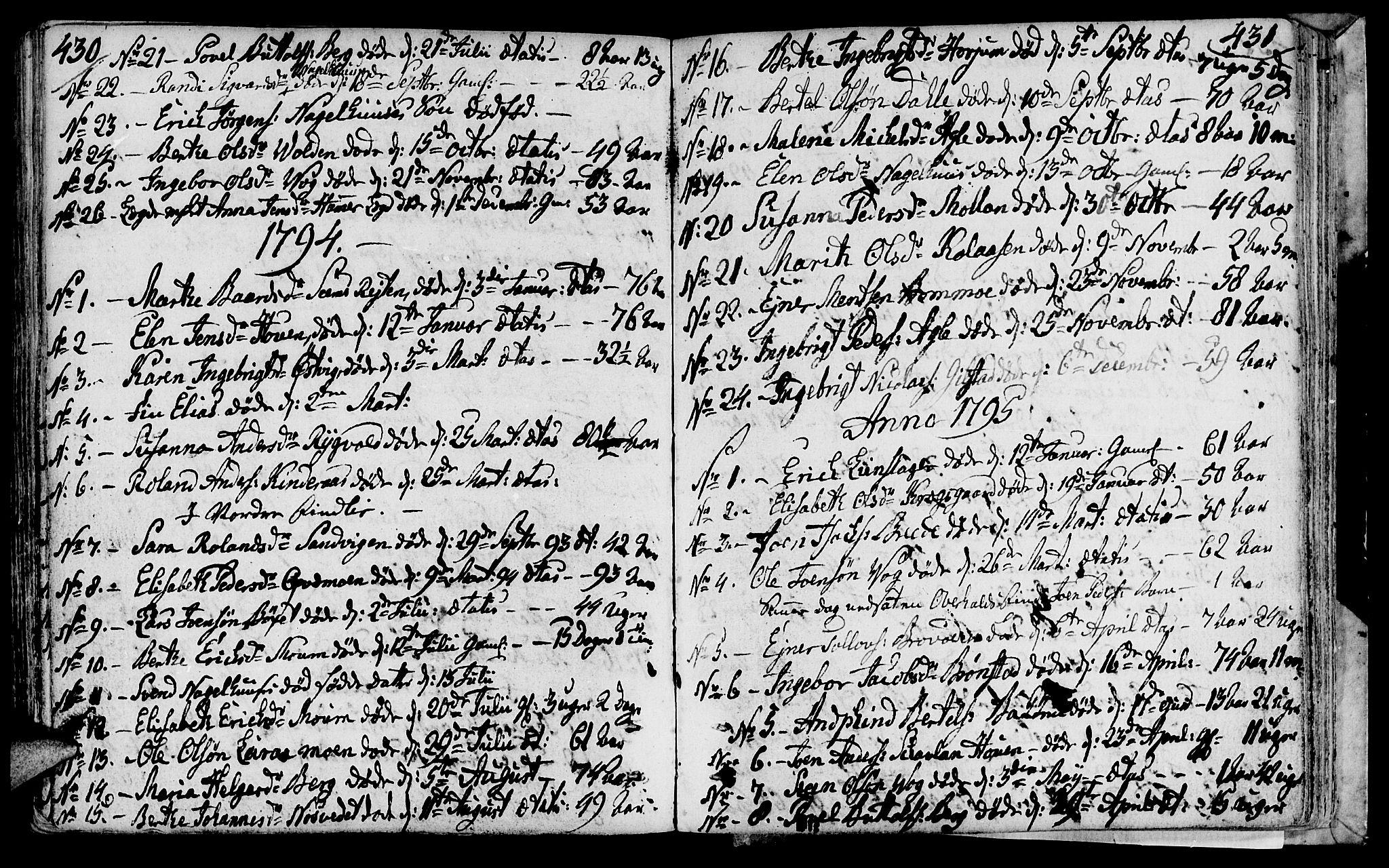 SAT, Ministerialprotokoller, klokkerbøker og fødselsregistre - Nord-Trøndelag, 749/L0468: Ministerialbok nr. 749A02, 1787-1817, s. 430-431