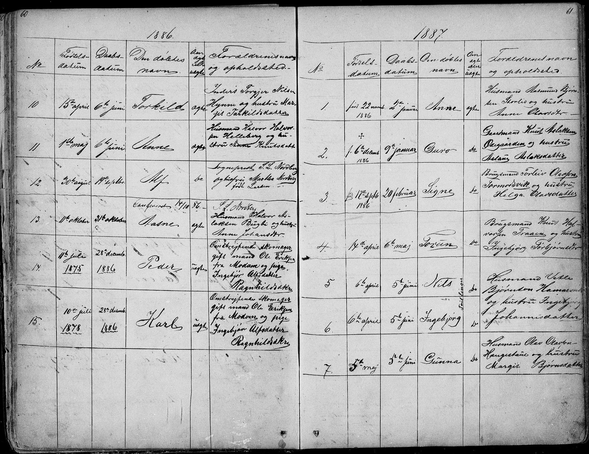 SAKO, Rauland kirkebøker, G/Ga/L0002: Klokkerbok nr. I 2, 1849-1935, s. 60-61