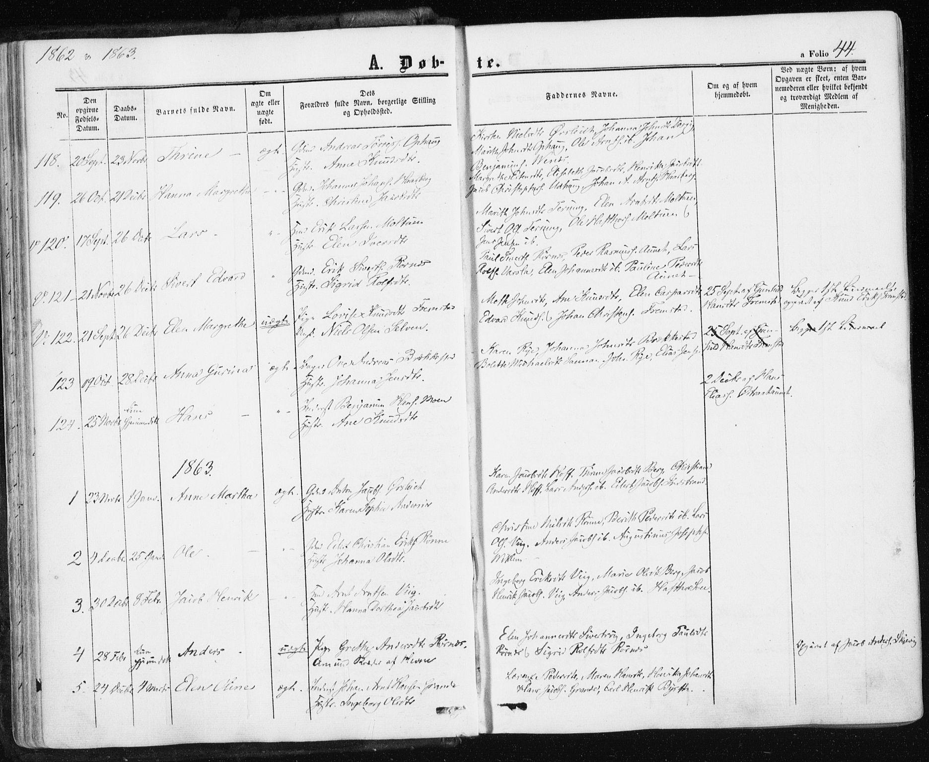 SAT, Ministerialprotokoller, klokkerbøker og fødselsregistre - Sør-Trøndelag, 659/L0737: Ministerialbok nr. 659A07, 1857-1875, s. 44