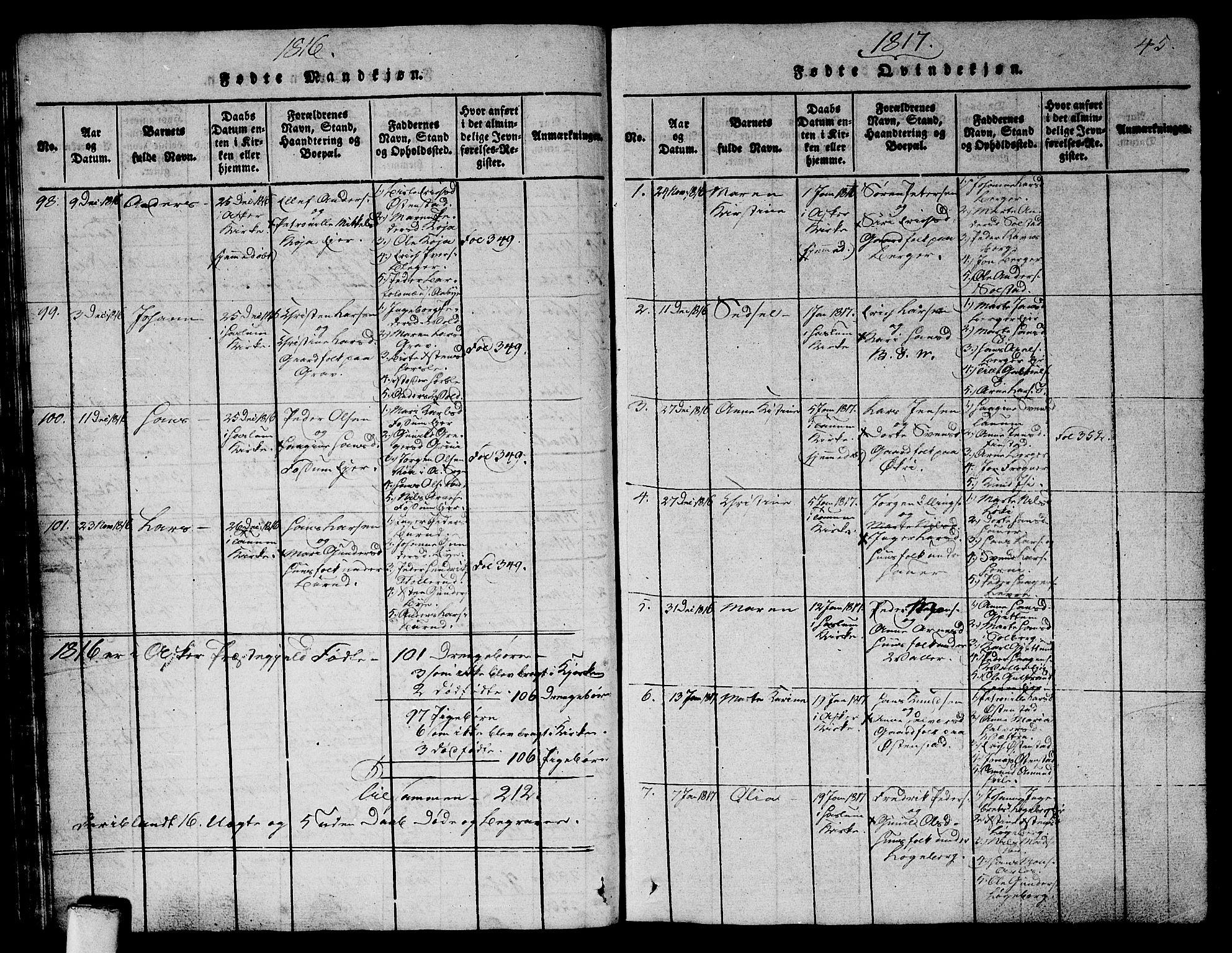 SAO, Asker prestekontor Kirkebøker, G/Ga/L0001: Klokkerbok nr. I 1, 1814-1830, s. 45