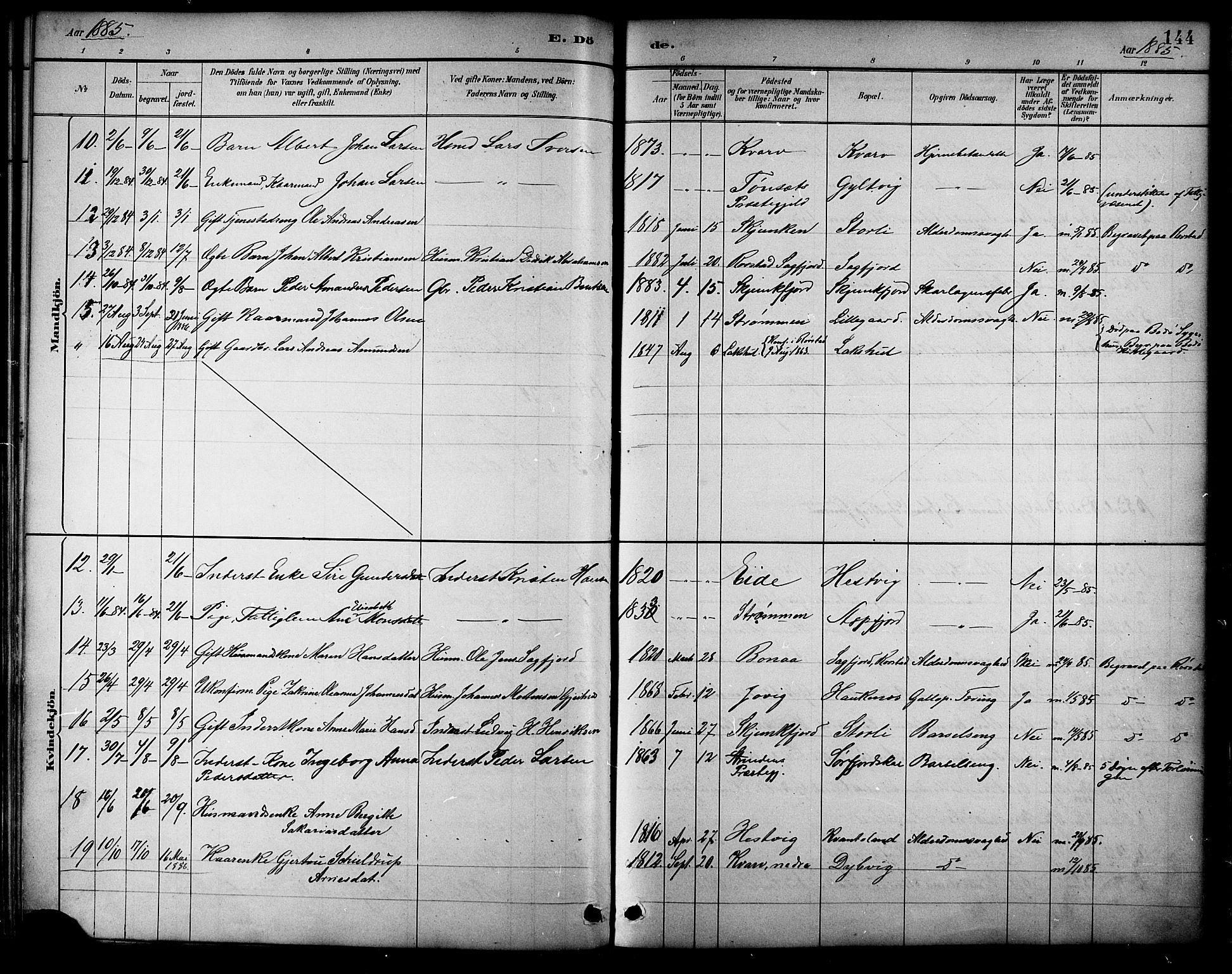 SAT, Ministerialprotokoller, klokkerbøker og fødselsregistre - Nordland, 854/L0777: Ministerialbok nr. 854A01 /1, 1883-1891, s. 144