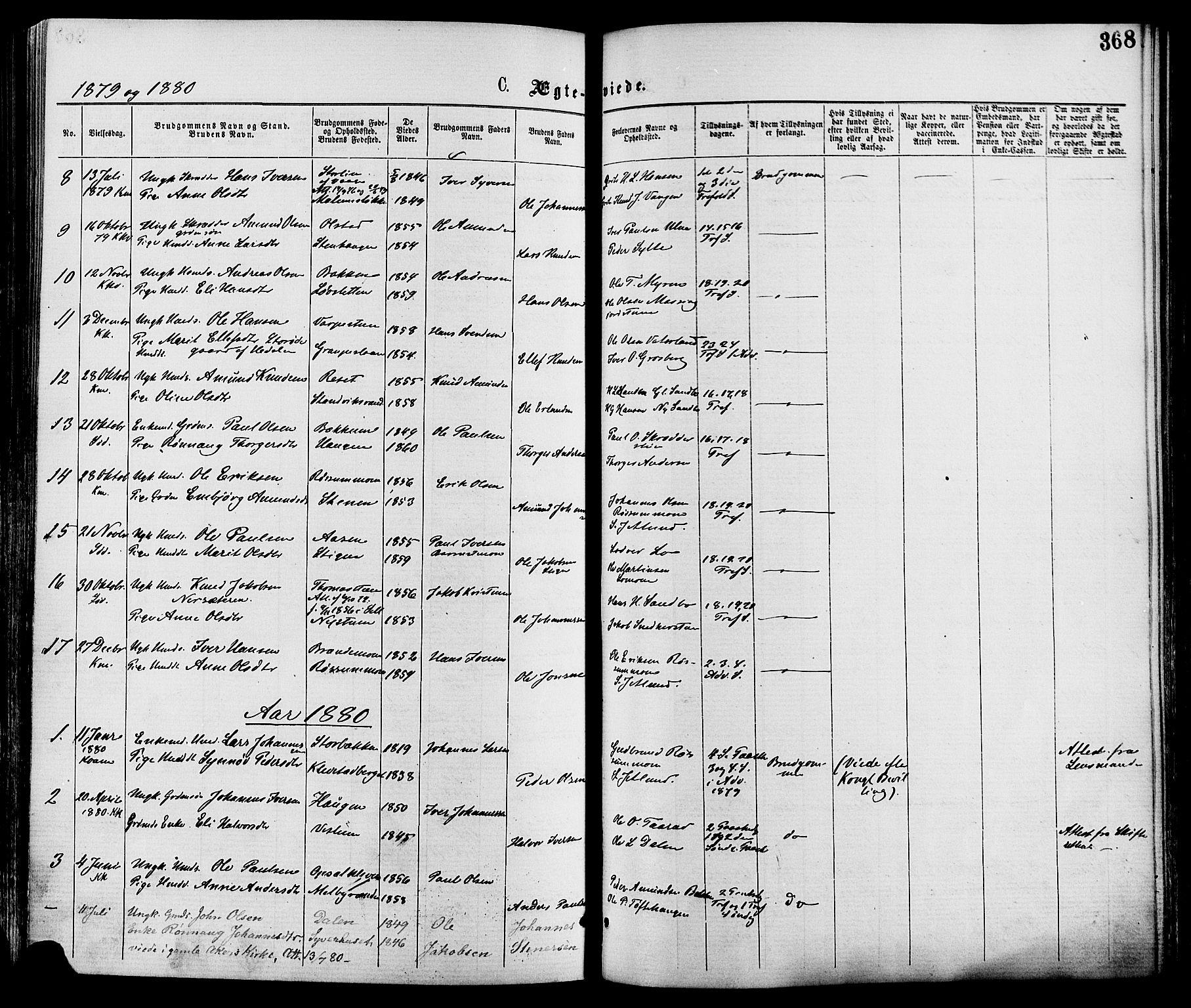 SAH, Nord-Fron prestekontor, Ministerialbok nr. 2, 1865-1883, s. 368