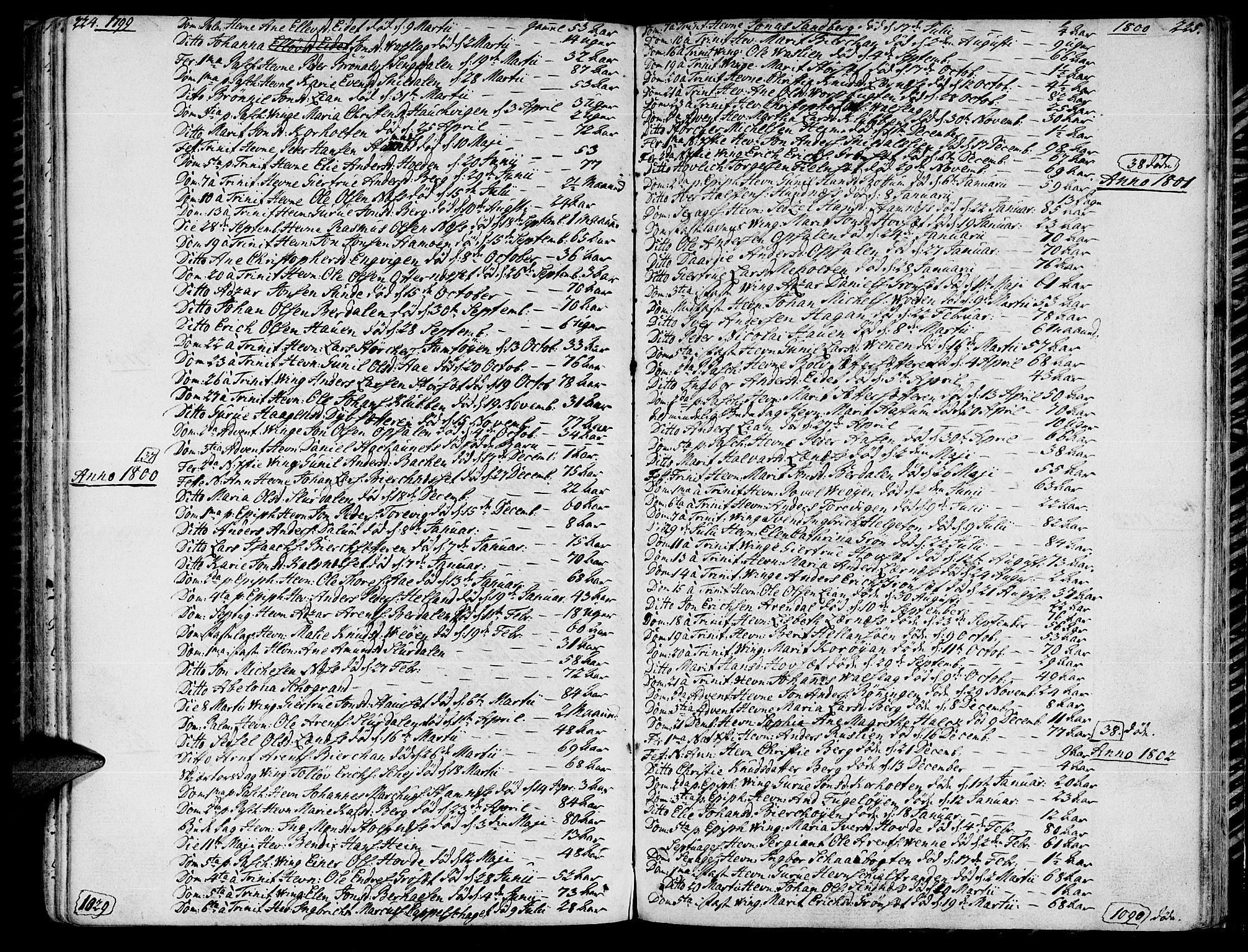 SAT, Ministerialprotokoller, klokkerbøker og fødselsregistre - Sør-Trøndelag, 630/L0490: Ministerialbok nr. 630A03, 1795-1818, s. 224-225