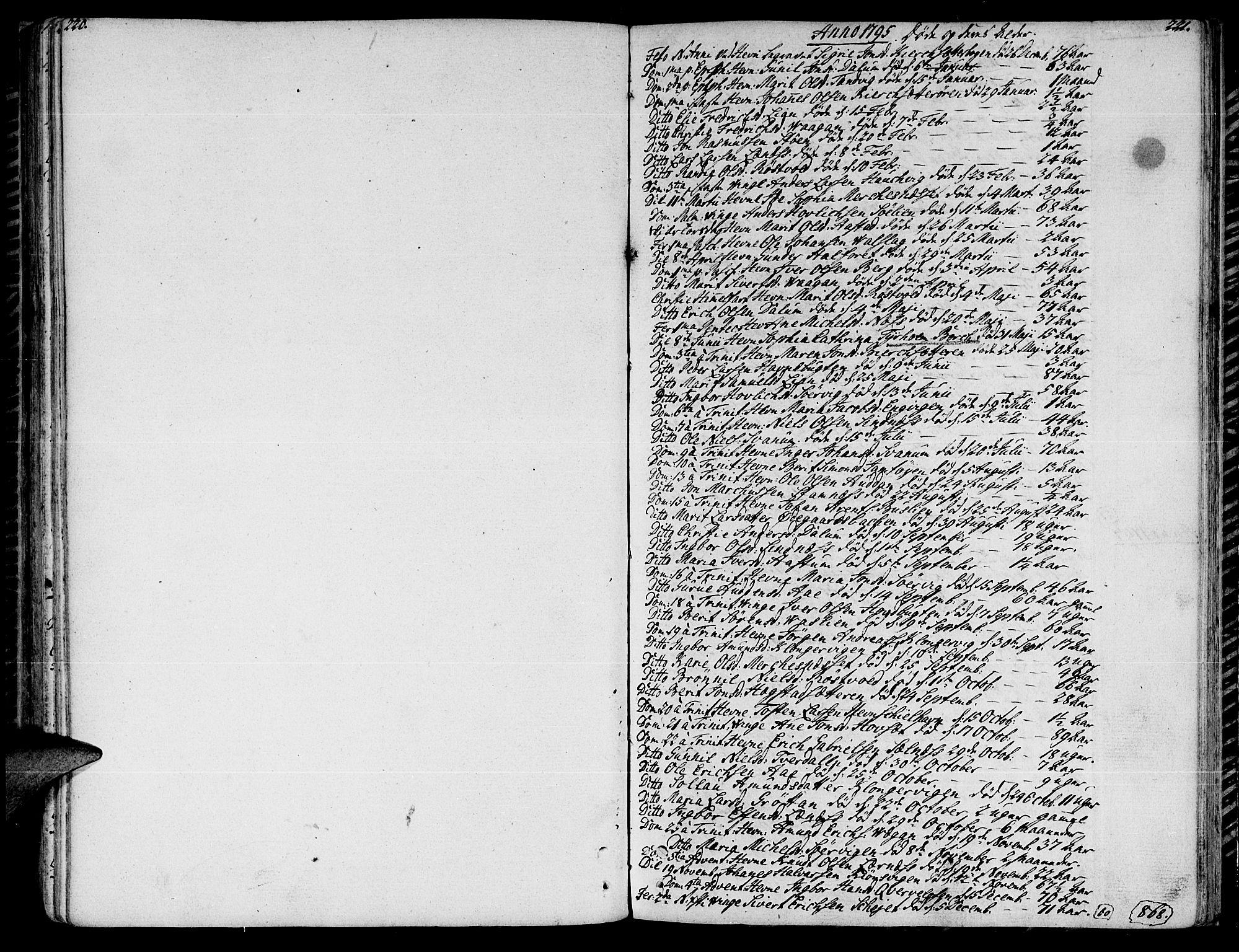 SAT, Ministerialprotokoller, klokkerbøker og fødselsregistre - Sør-Trøndelag, 630/L0490: Ministerialbok nr. 630A03, 1795-1818, s. 220-221