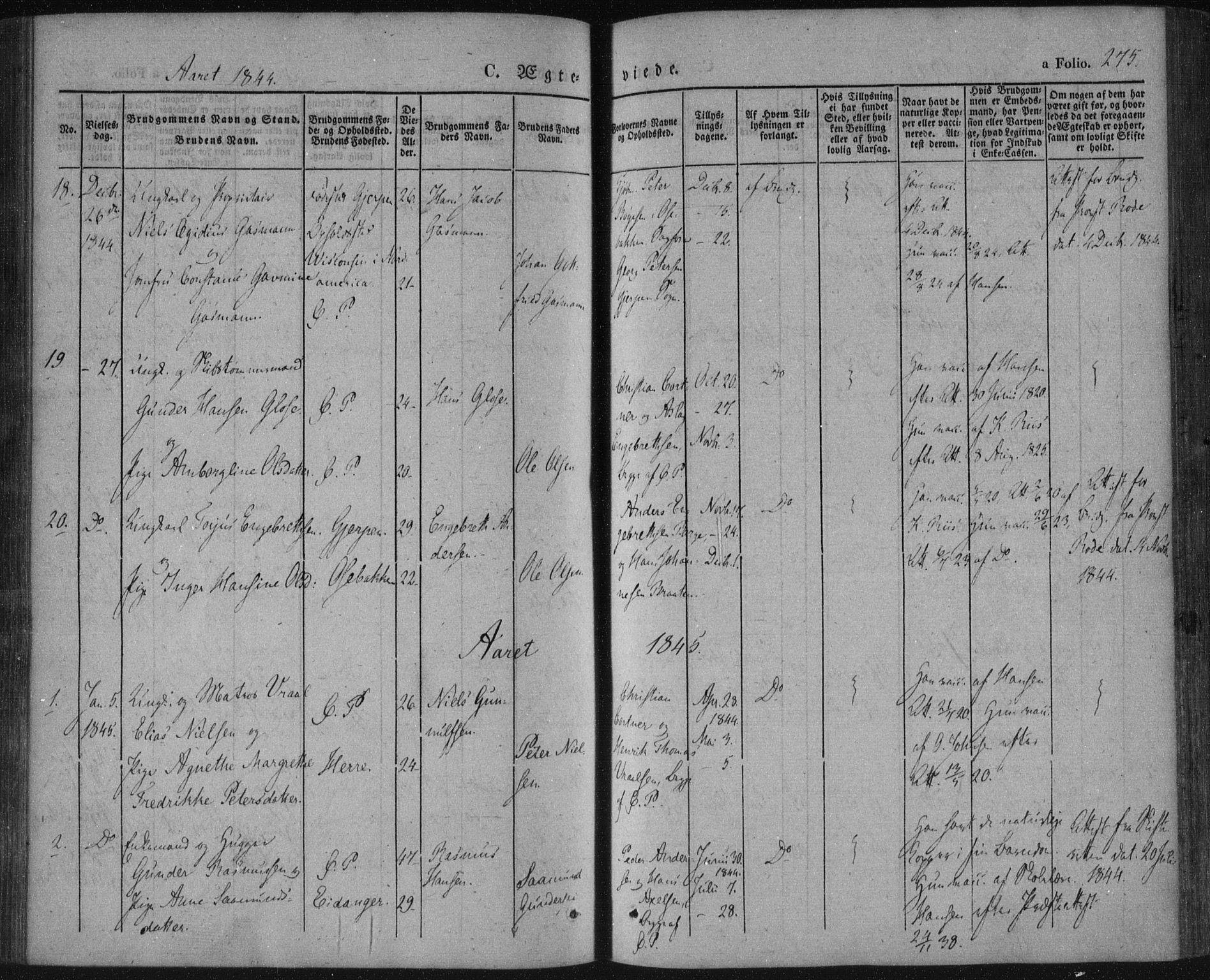 SAKO, Porsgrunn kirkebøker , F/Fa/L0006: Ministerialbok nr. 6, 1841-1857, s. 275