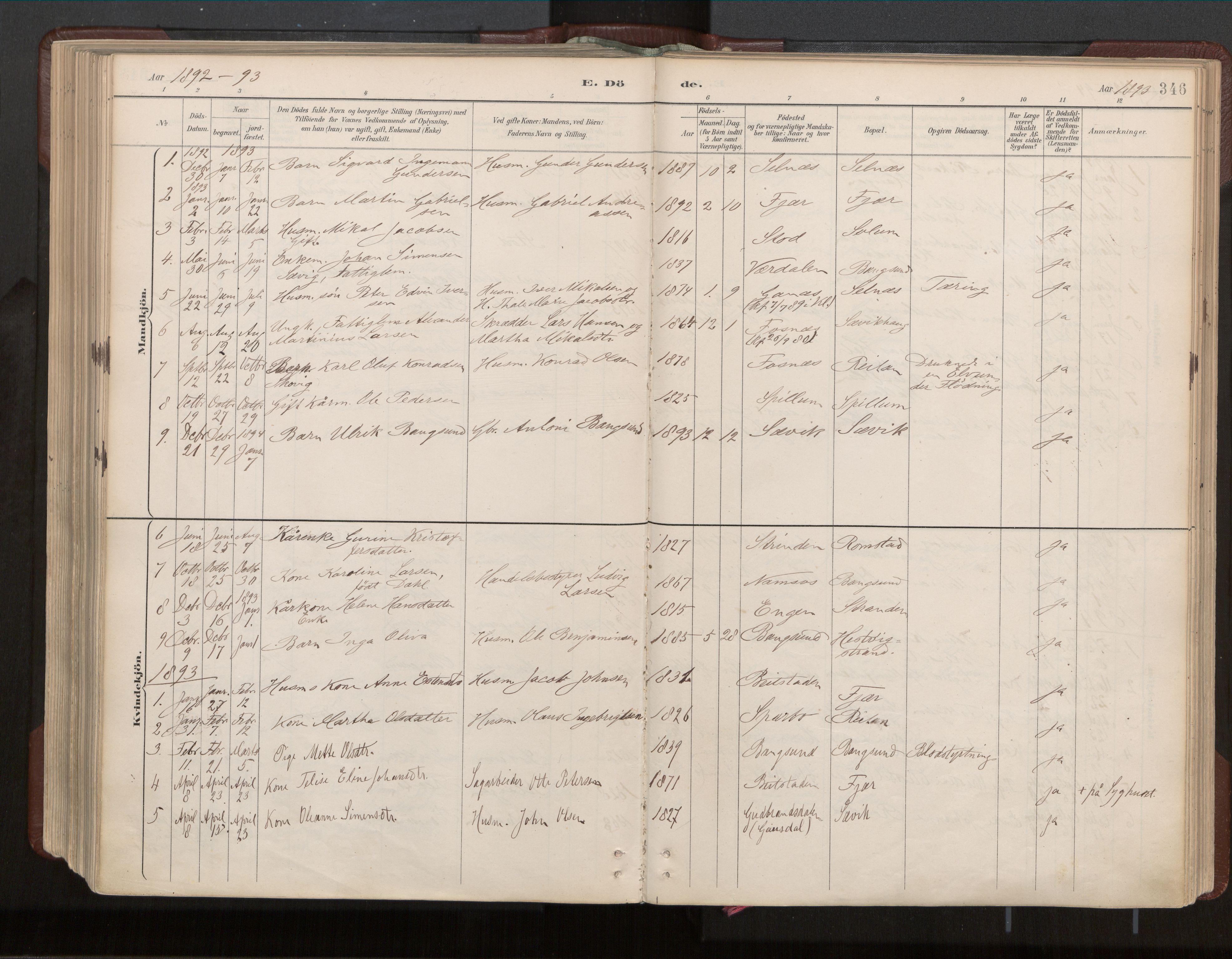 SAT, Ministerialprotokoller, klokkerbøker og fødselsregistre - Nord-Trøndelag, 770/L0589: Ministerialbok nr. 770A03, 1887-1929, s. 346