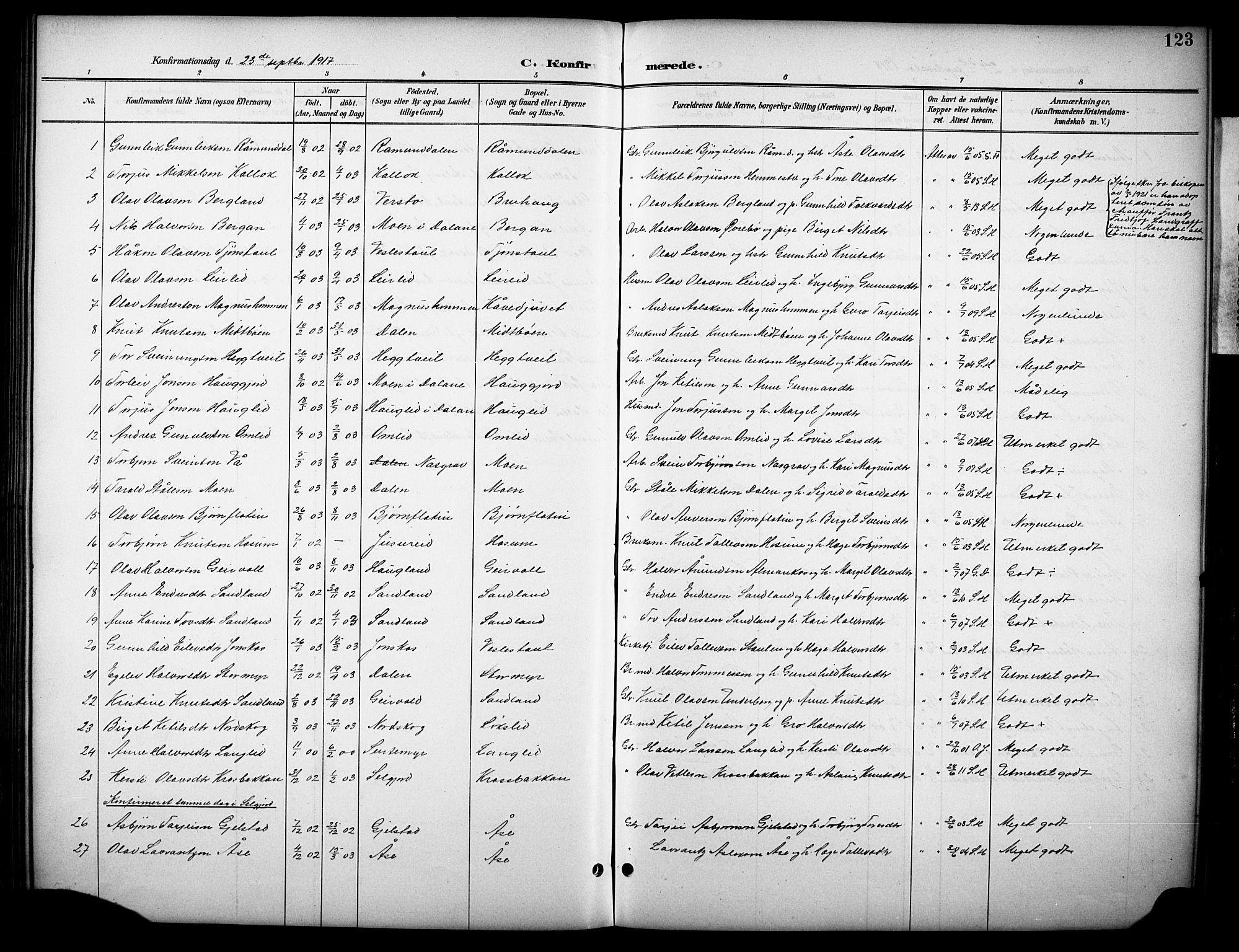 SAKO, Kviteseid kirkebøker, G/Gb/L0003: Klokkerbok nr. II 3, 1893-1933, s. 123