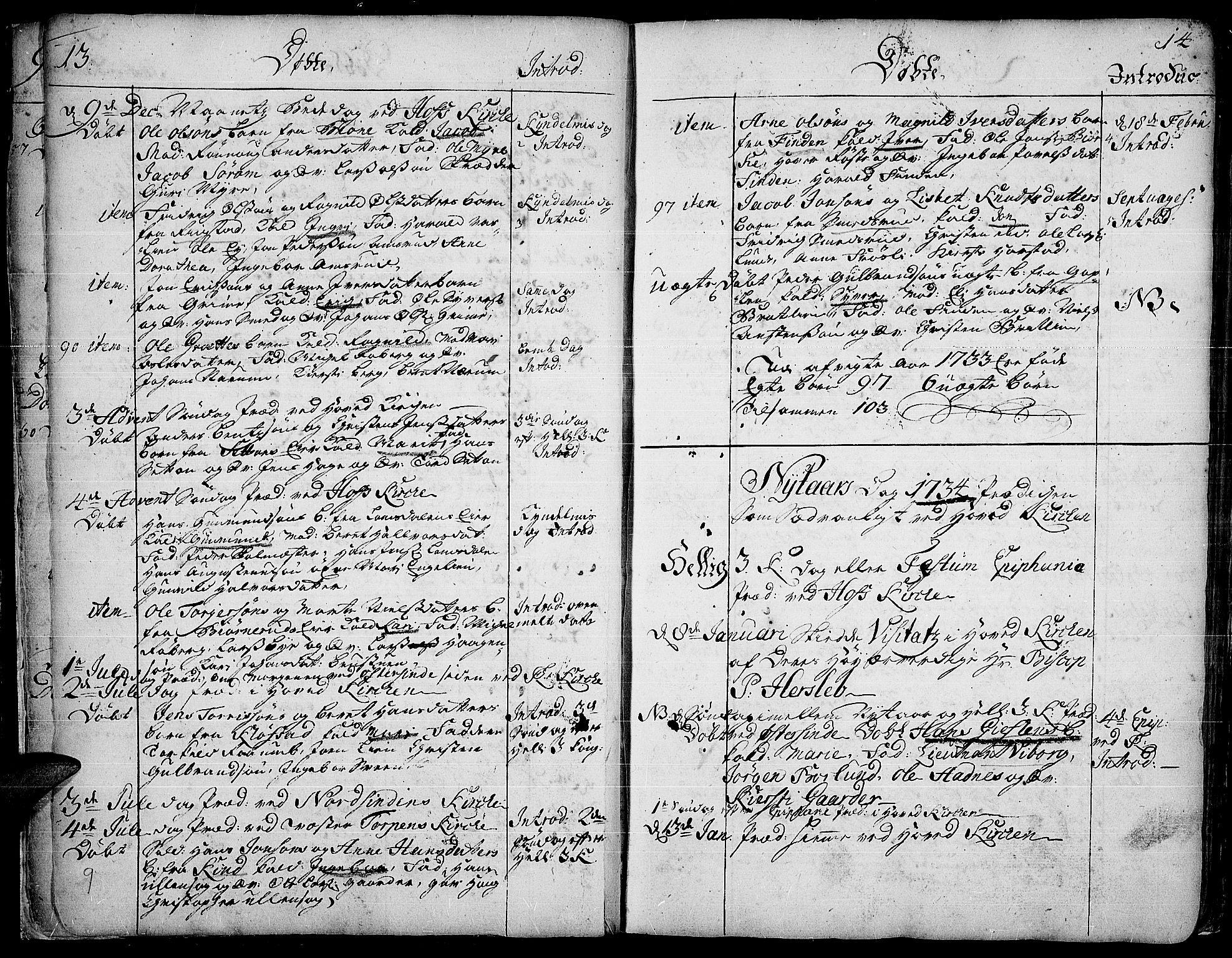 SAH, Land prestekontor, Ministerialbok nr. 2, 1733-1764, s. 13-14
