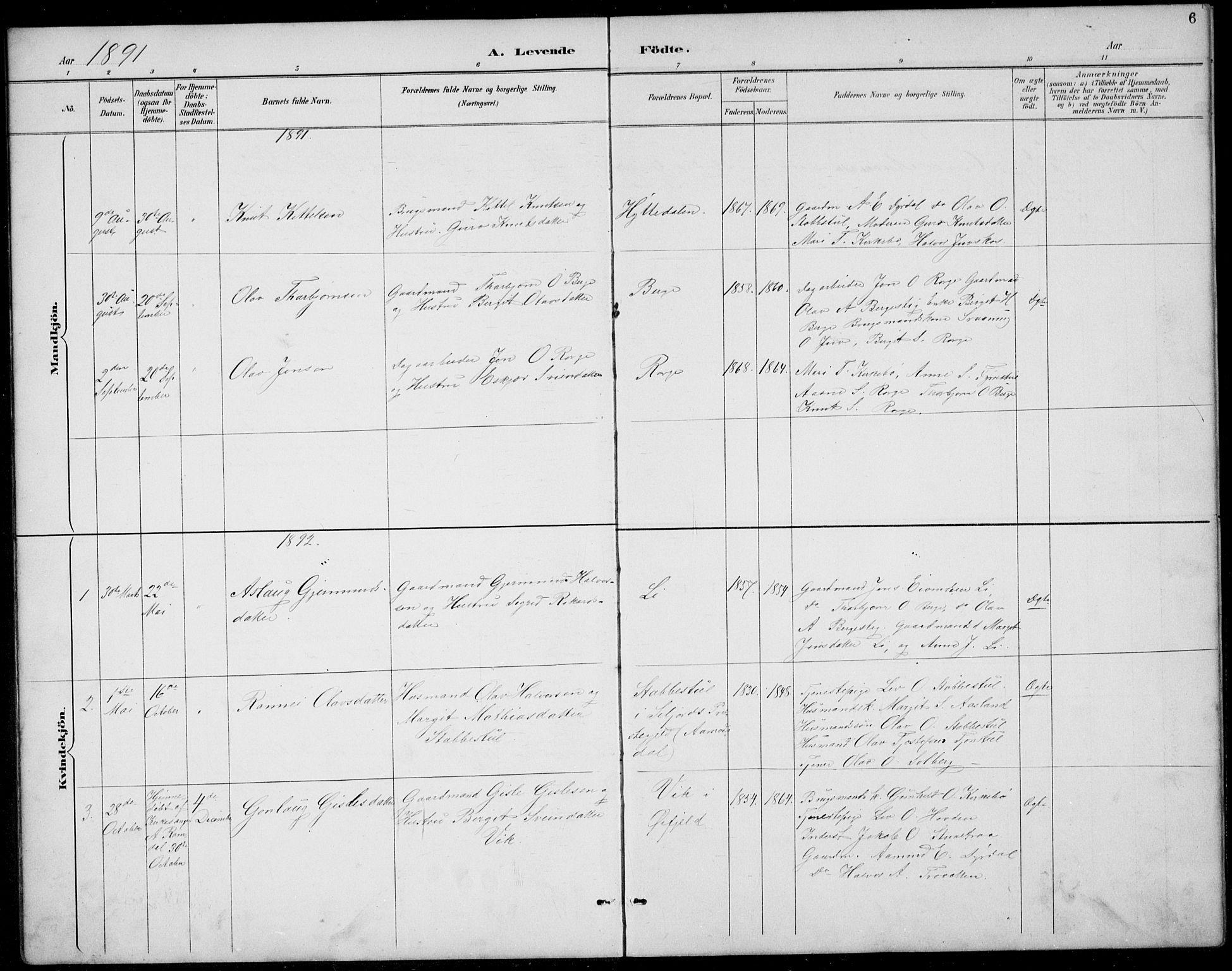 SAKO, Rauland kirkebøker, G/Gb/L0002: Klokkerbok nr. II 2, 1887-1937, s. 6