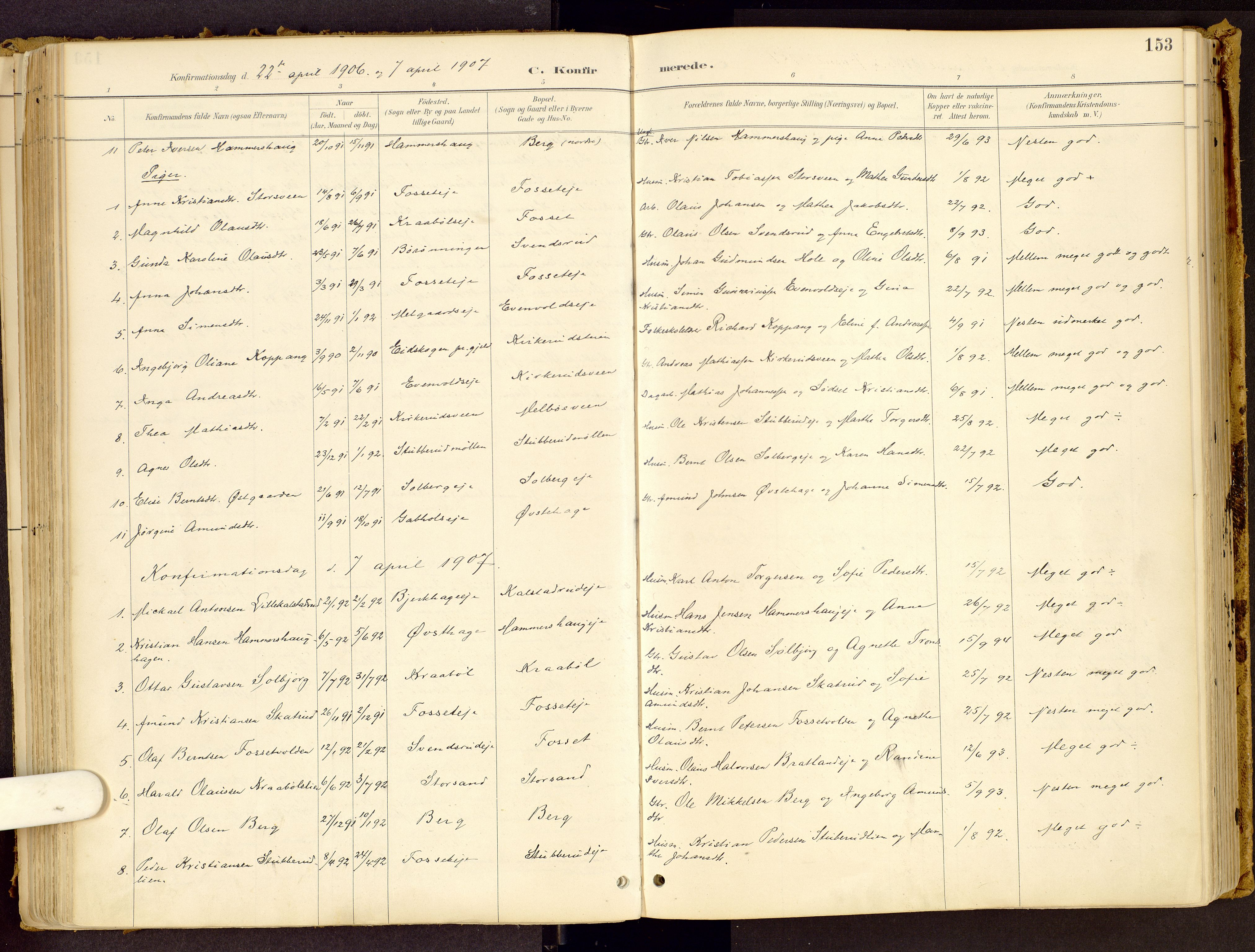 SAH, Vestre Gausdal prestekontor, Ministerialbok nr. 1, 1887-1914, s. 153