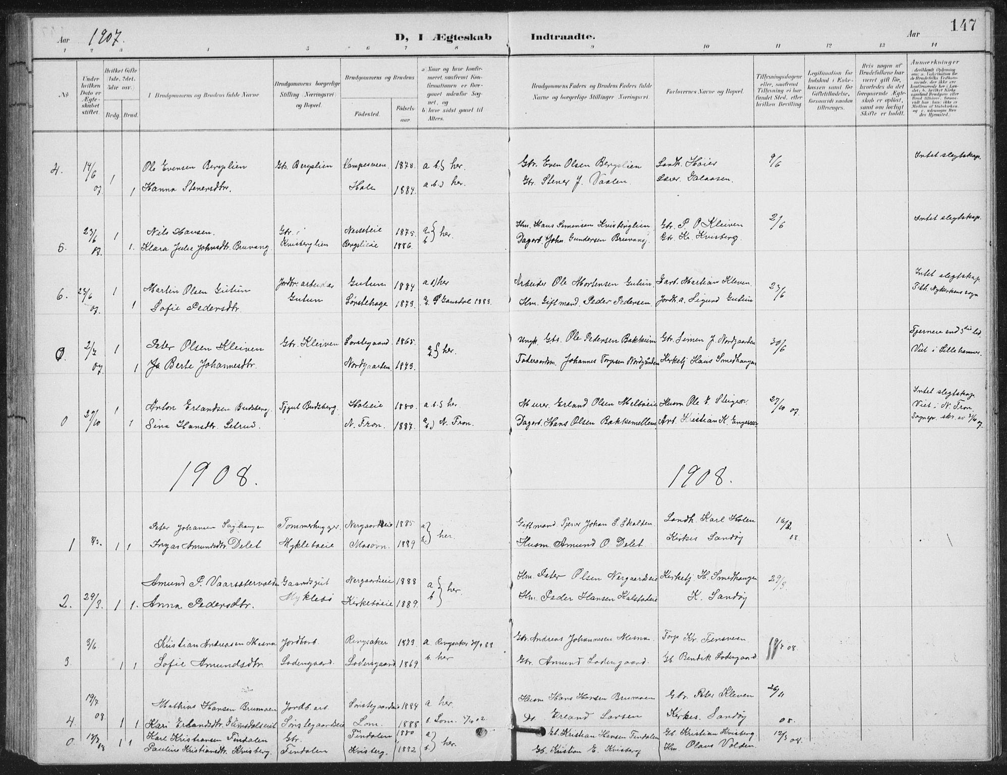 SAH, Vestre Gausdal prestekontor, Klokkerbok nr. 4, 1898-1939, s. 147