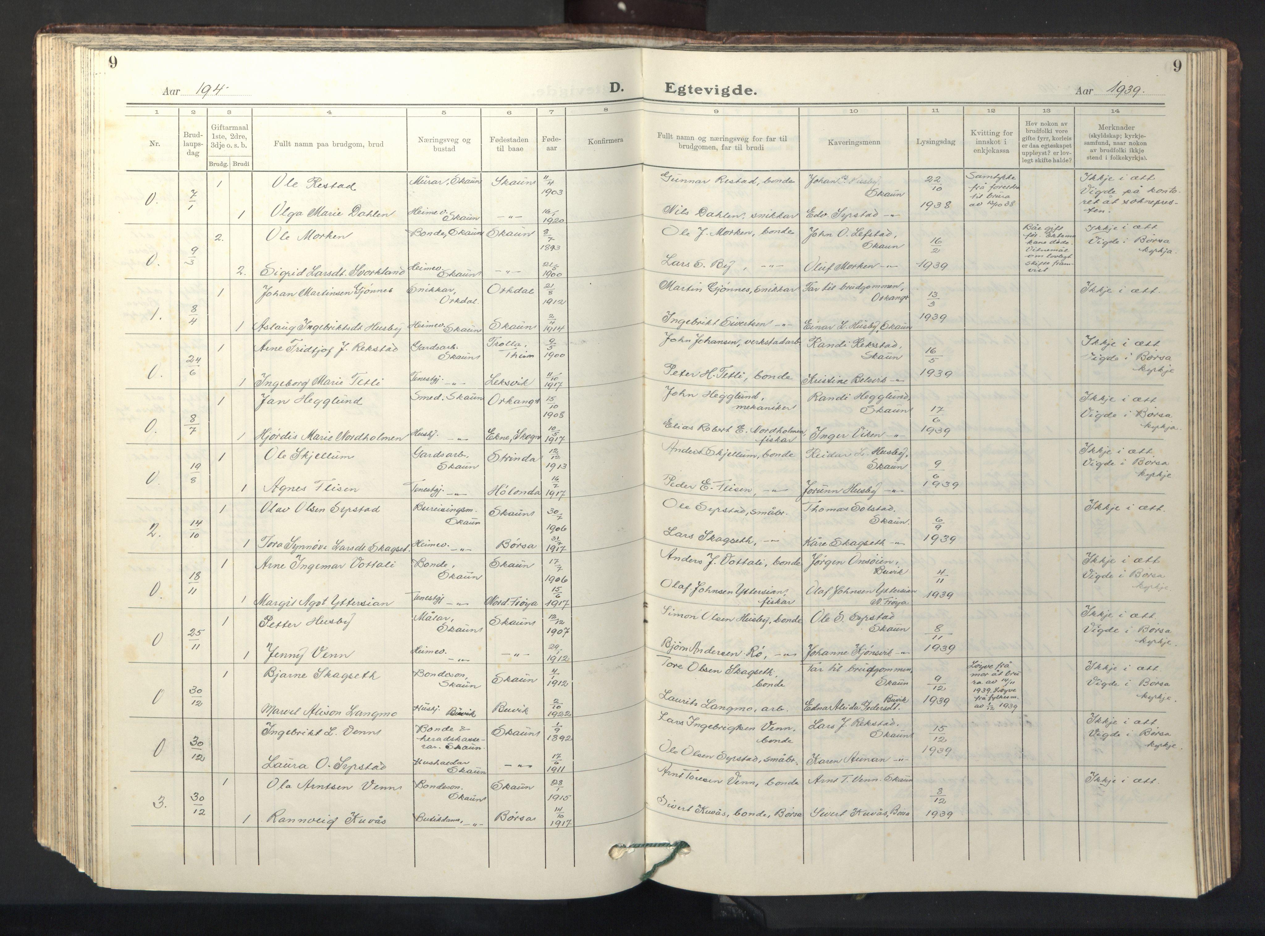 SAT, Ministerialprotokoller, klokkerbøker og fødselsregistre - Sør-Trøndelag, 667/L0799: Klokkerbok nr. 667C04, 1929-1950, s. 9