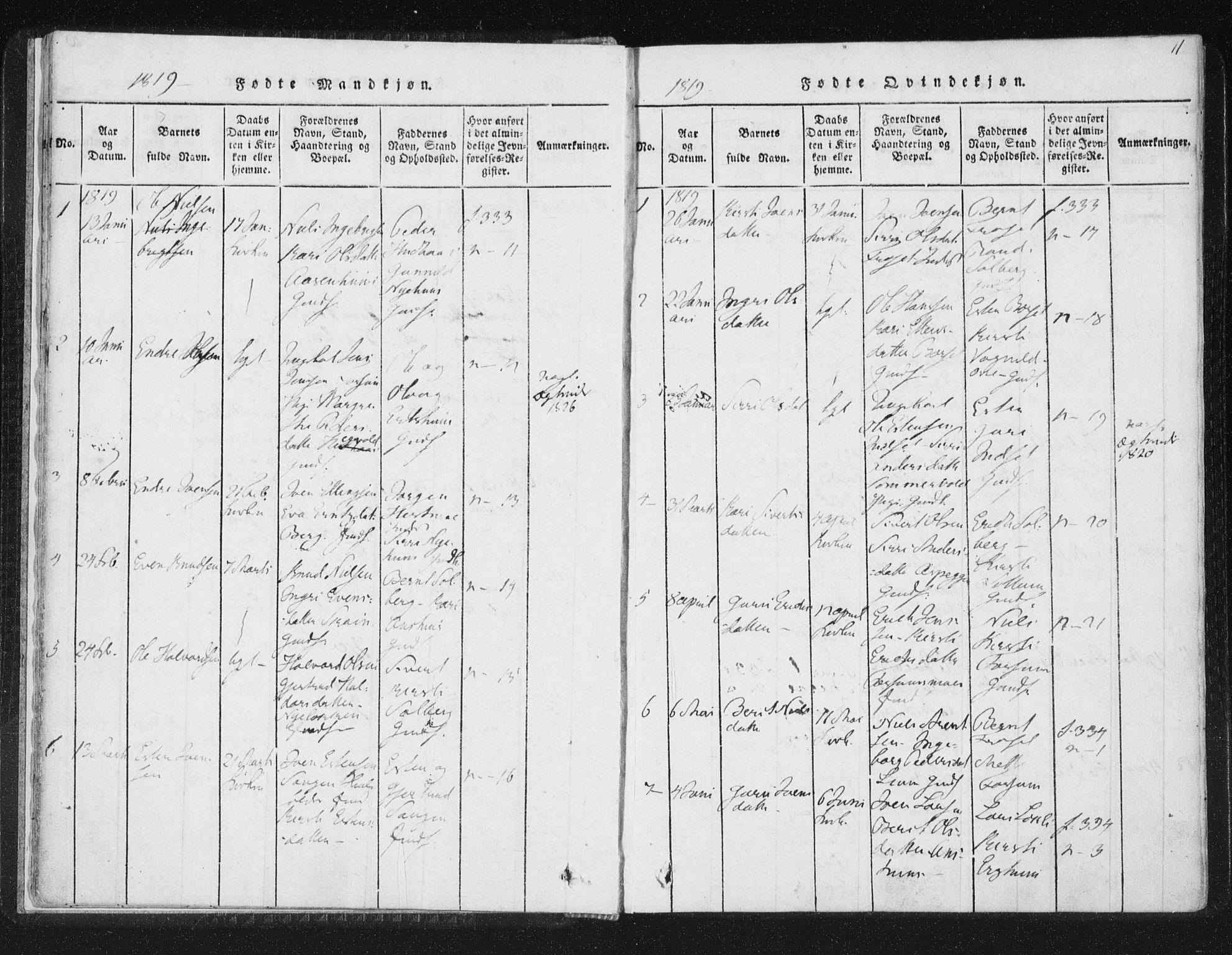 SAT, Ministerialprotokoller, klokkerbøker og fødselsregistre - Sør-Trøndelag, 689/L1037: Ministerialbok nr. 689A02, 1816-1842, s. 11