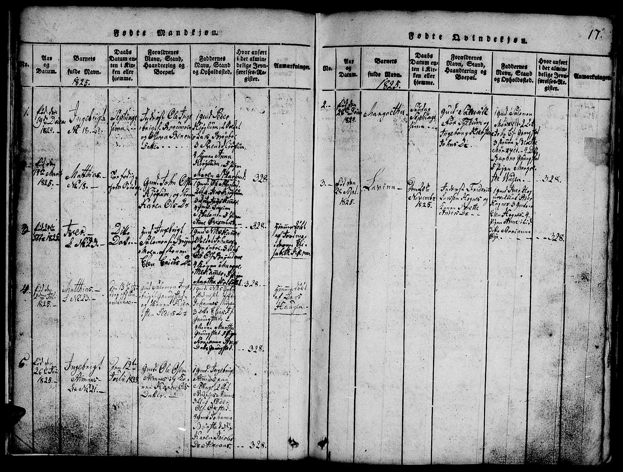 SAT, Ministerialprotokoller, klokkerbøker og fødselsregistre - Nord-Trøndelag, 765/L0562: Klokkerbok nr. 765C01, 1817-1851, s. 17