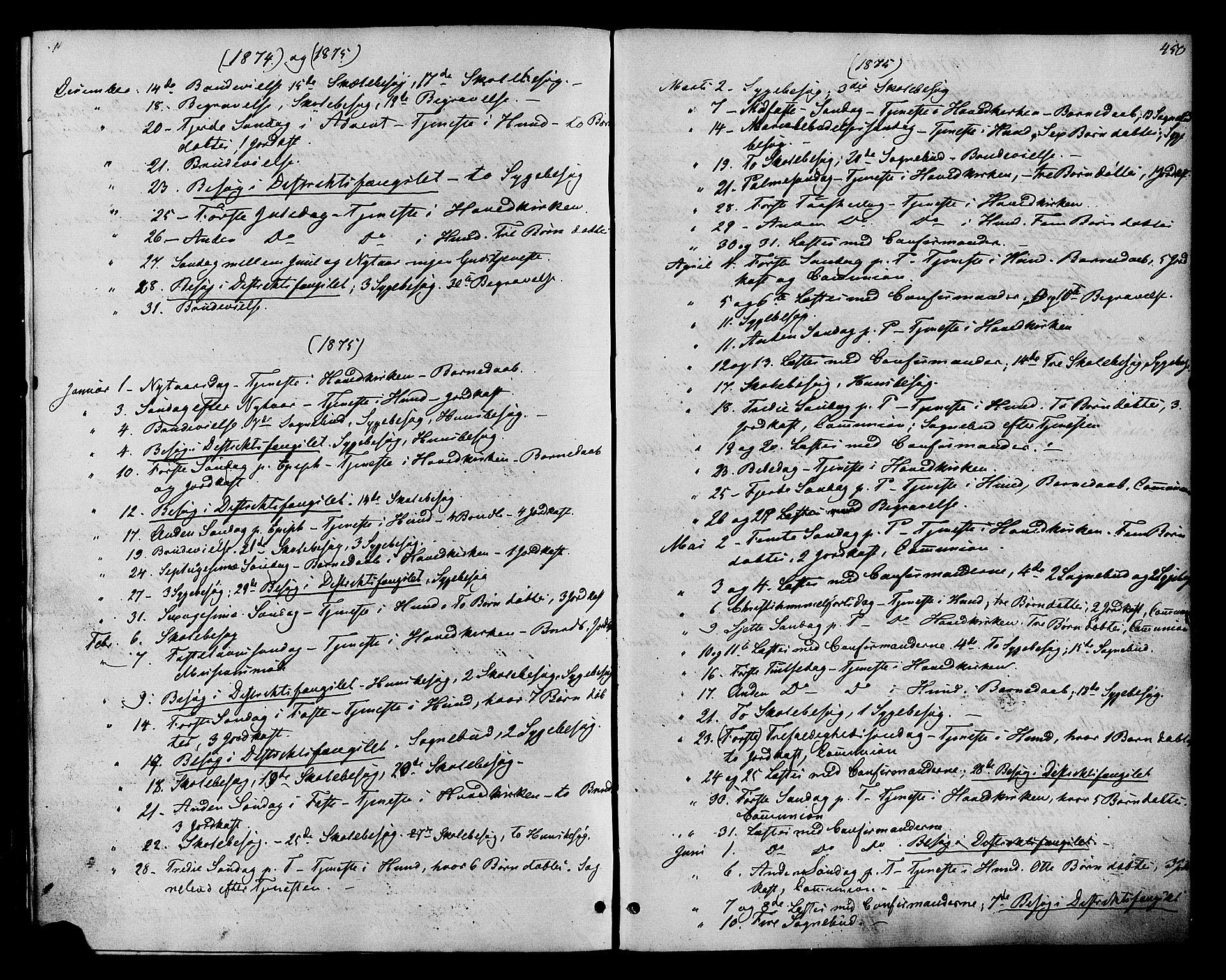 SAH, Vardal prestekontor, H/Ha/Haa/L0007: Ministerialbok nr. 7, 1867-1878, s. 450