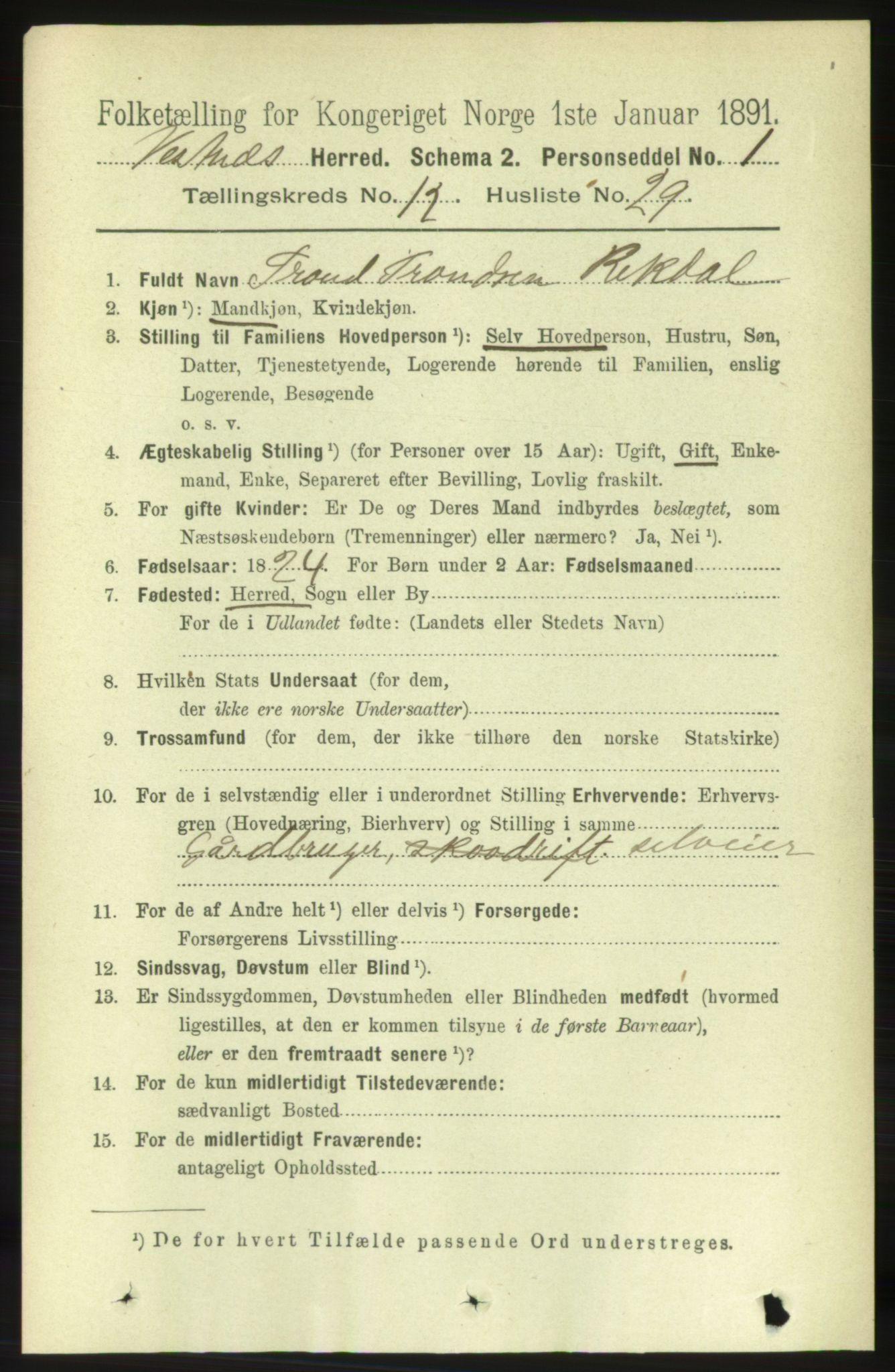 RA, Folketelling 1891 for 1535 Vestnes herred, 1891, s. 4576